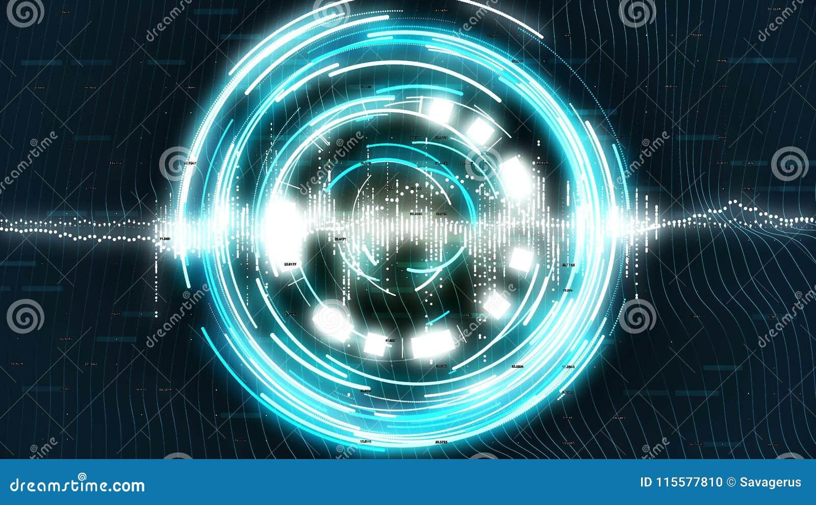 与蓝色转动的图表在科学幻想小说背景盘旋