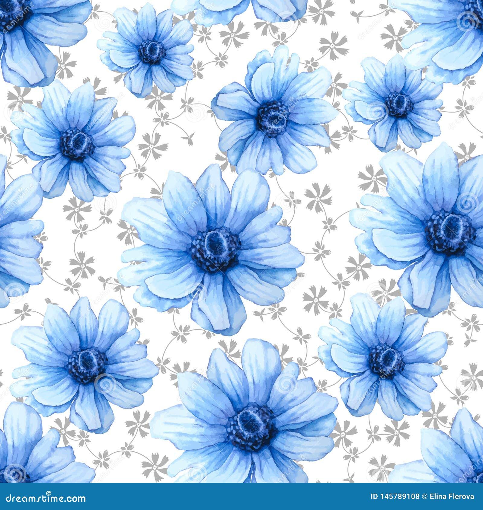 与蓝色银莲花属花的水彩五颜六色的样式在白色背景 手图画例证