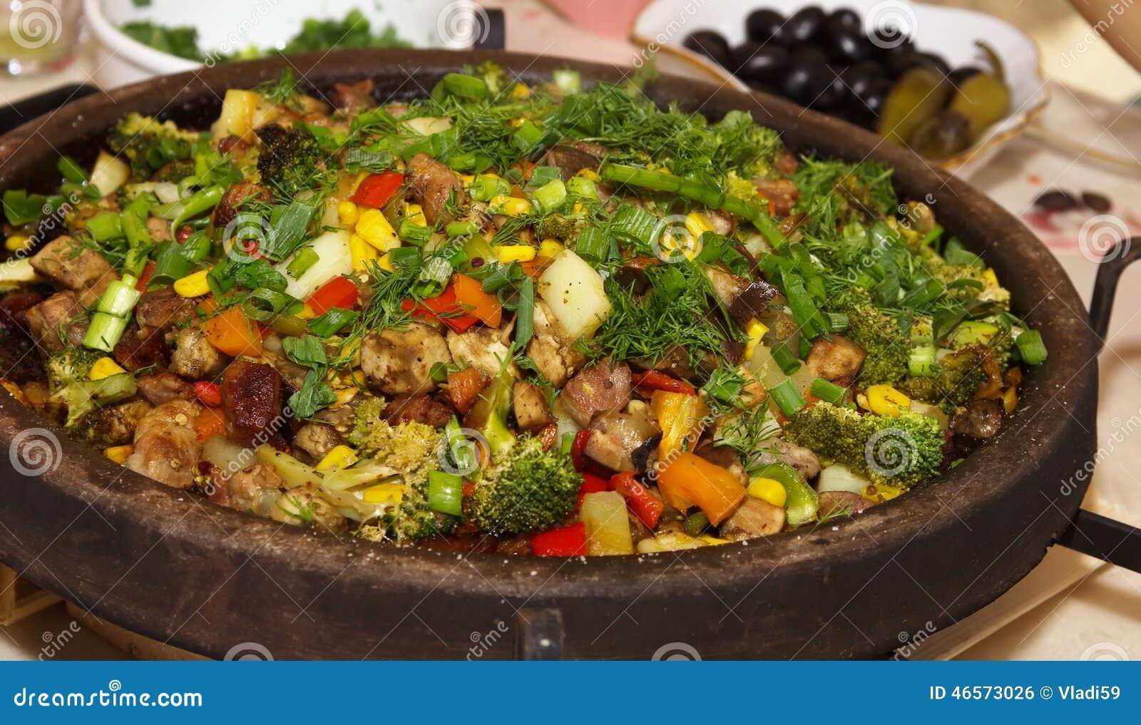 与蔬菜的肉