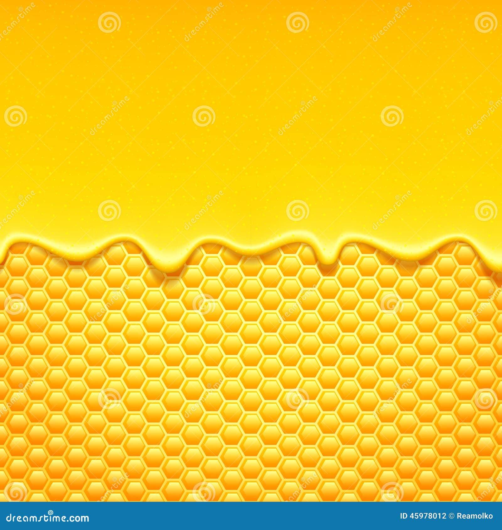 与蜂窝和蜂蜜滴水的黄色样式