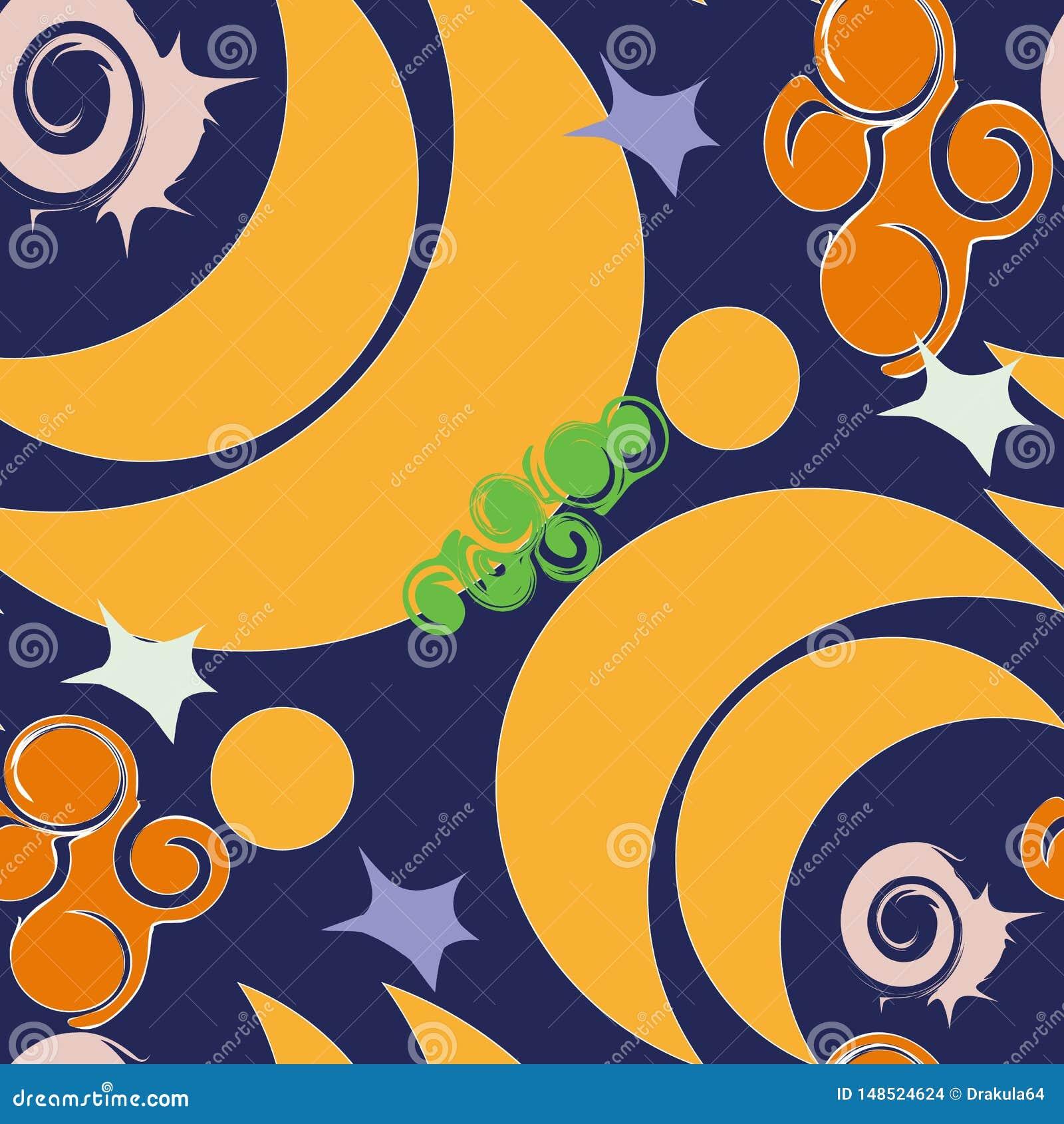 与蜗牛的无缝的新月形月亮背景