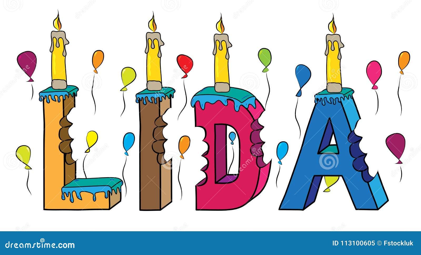 与蜡烛和气球的利达女性名字被咬住的五颜六色的3d字法生日蛋糕