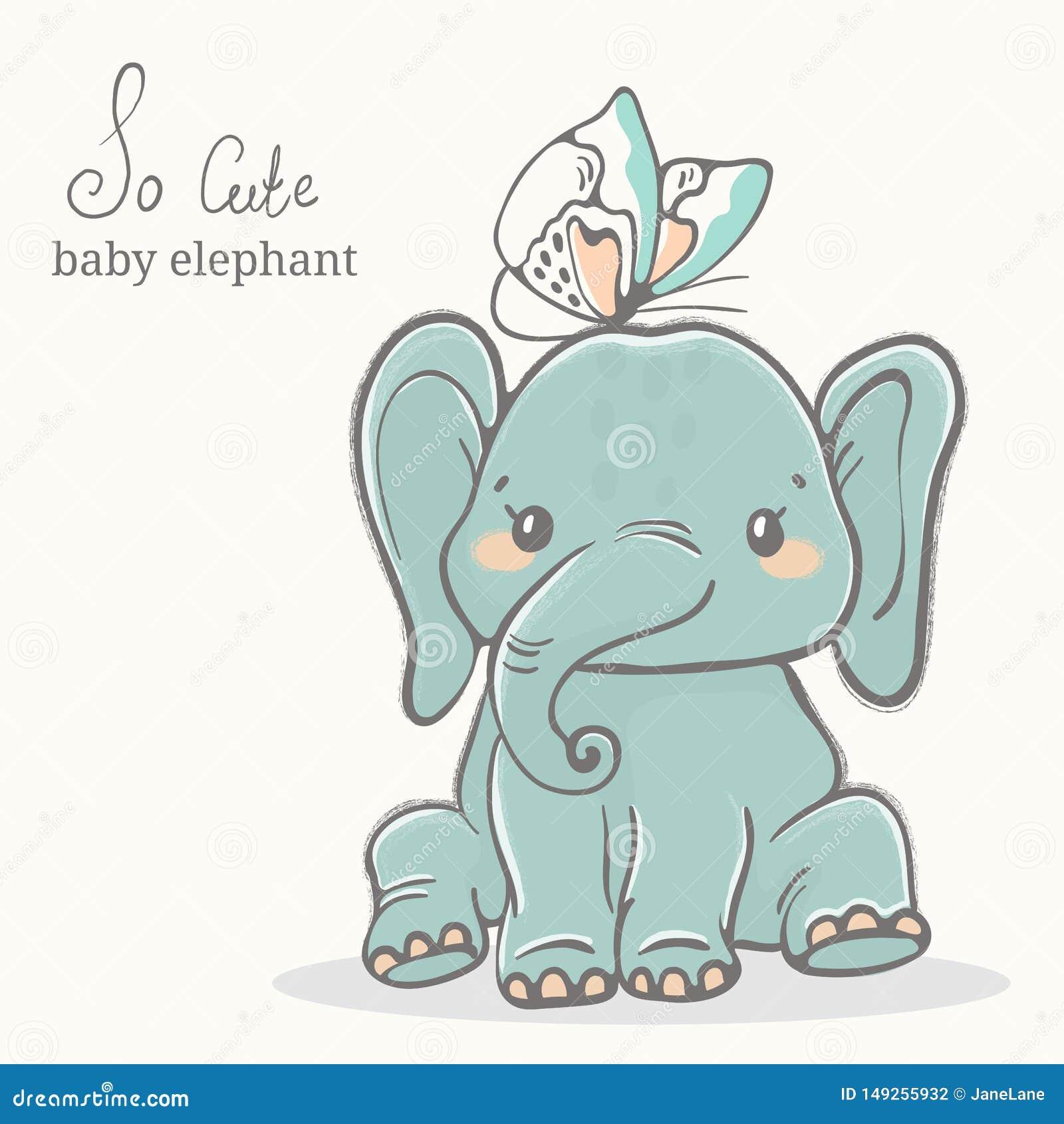 与蝴蝶例证,逗人喜爱的动物图画的婴孩大象