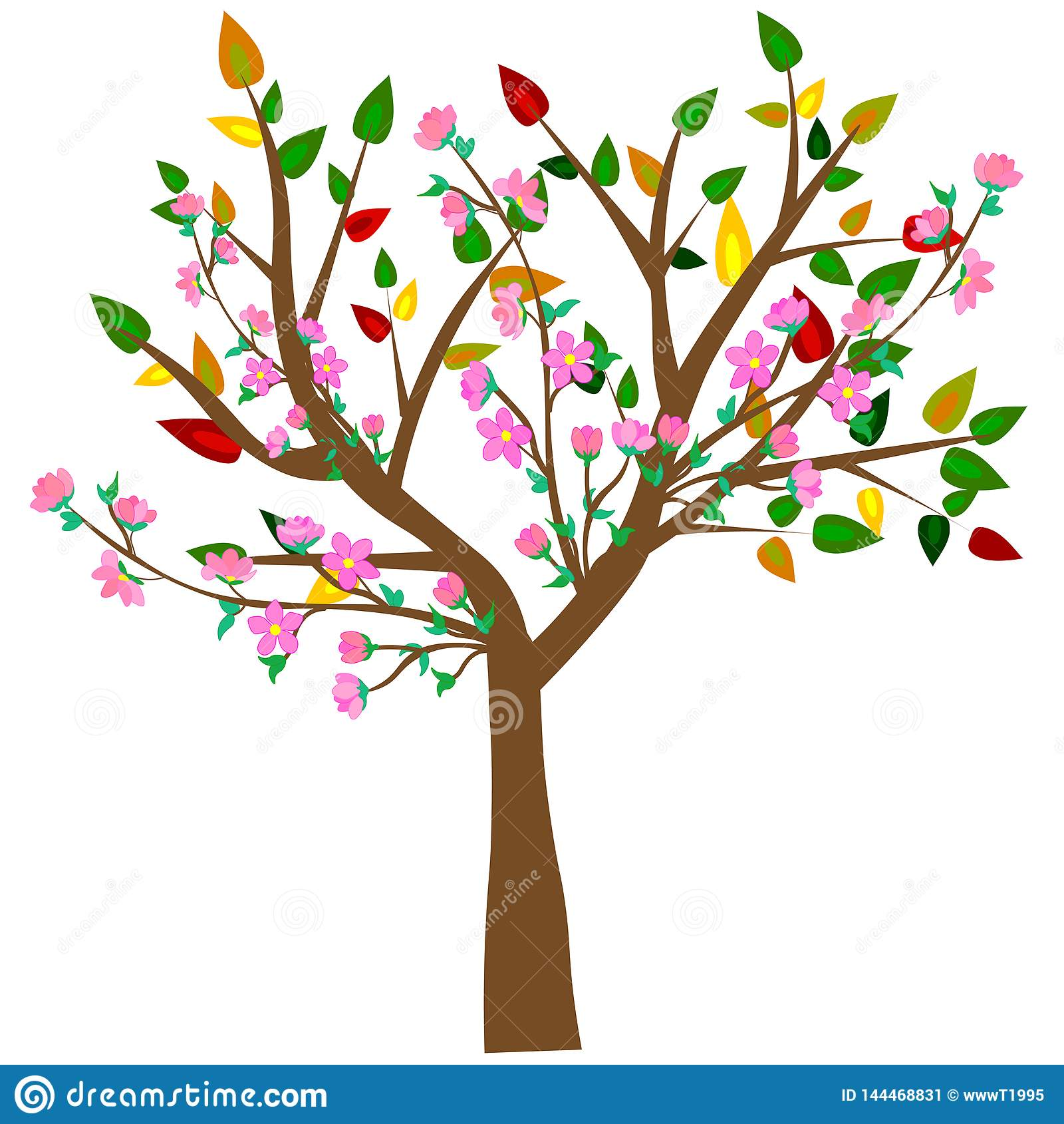? 与蝴蝶的五颜六色的春天树