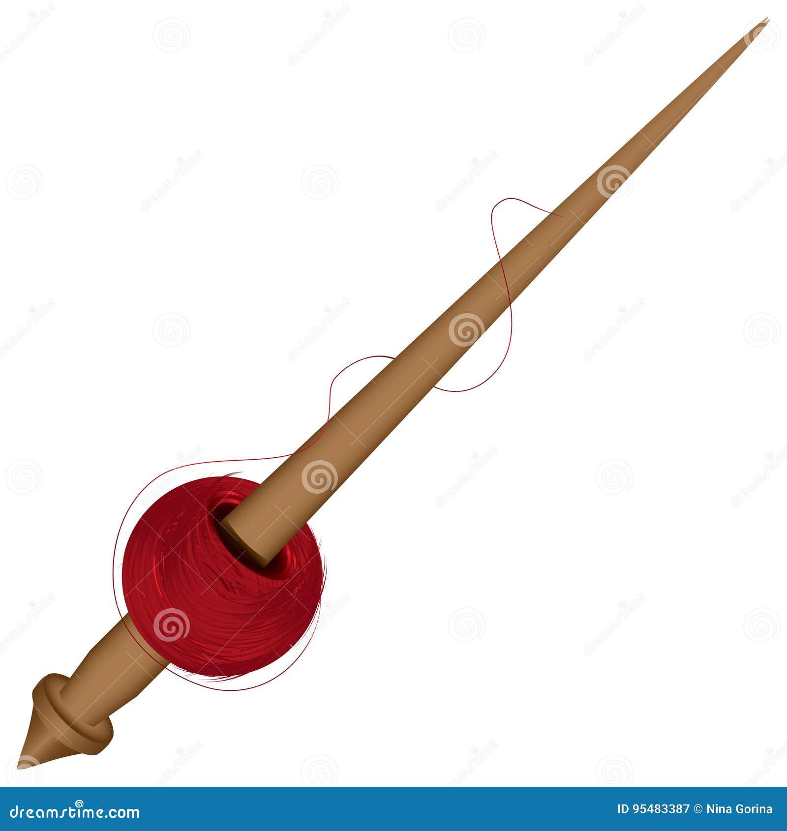 与螺纹一束的锋利的纺锤