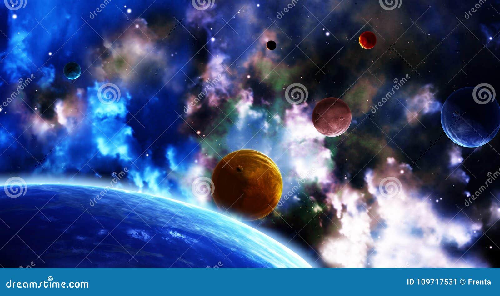 与行星和星云的空间场面