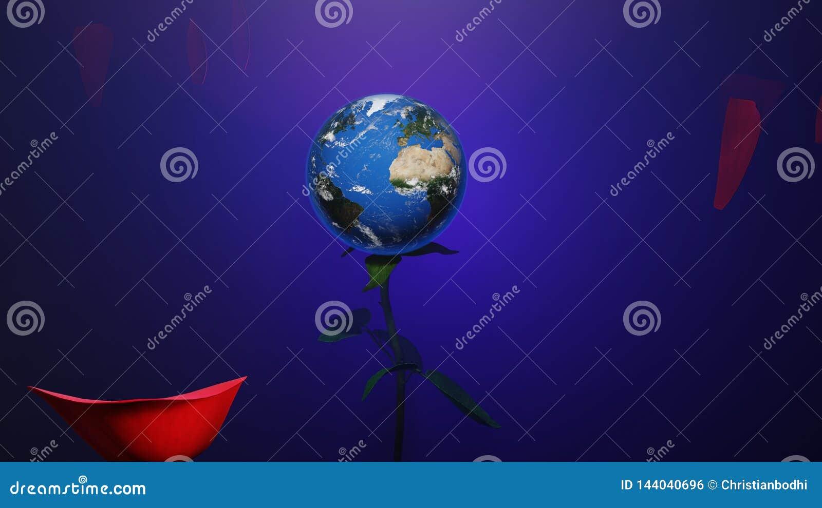 与行星地球的一朵红色玫瑰