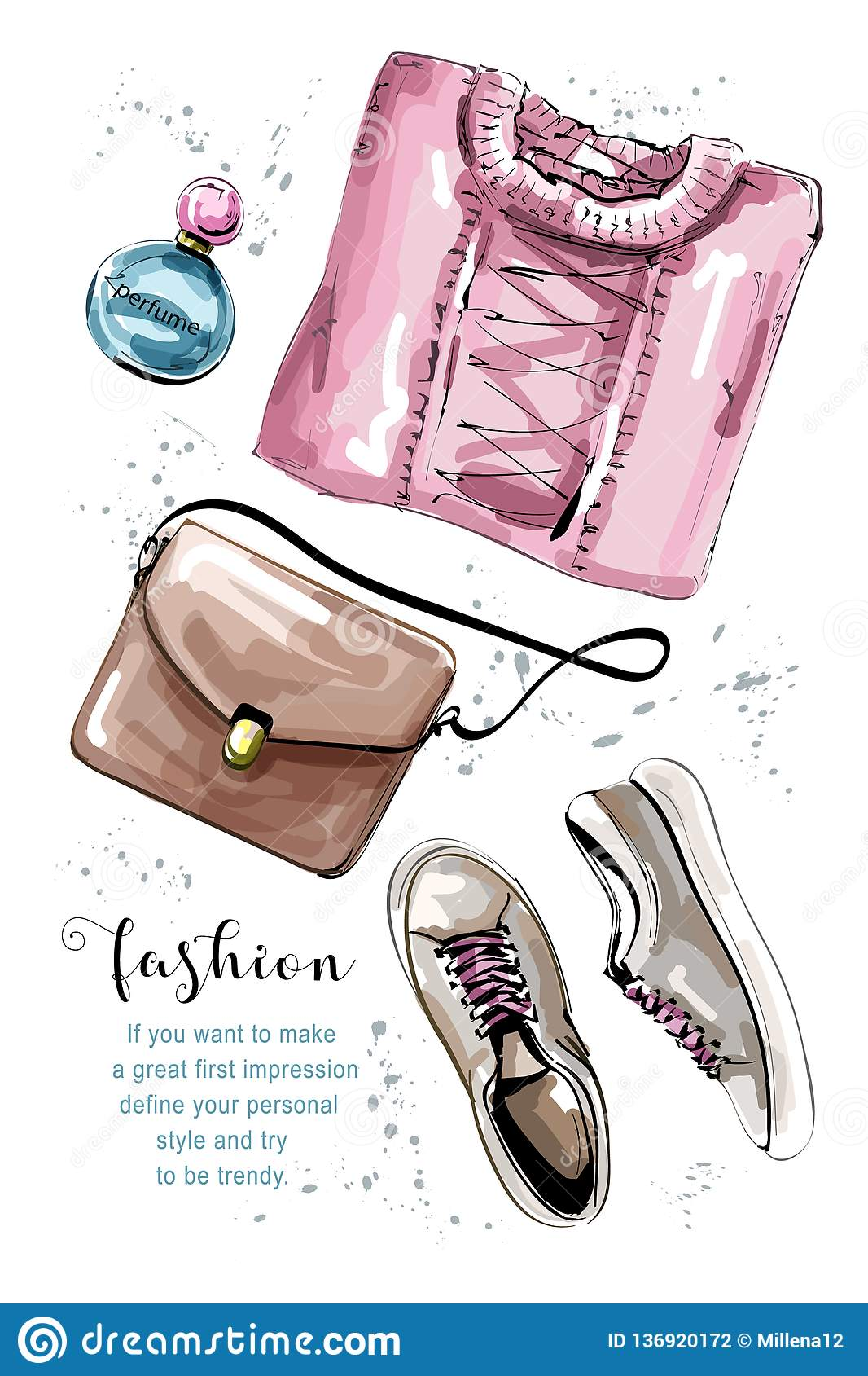 与袋子,毛线衣,香水,鞋子的手拉的衣物集合 时髦的女性成套装备 妇女` s衣裳 草图