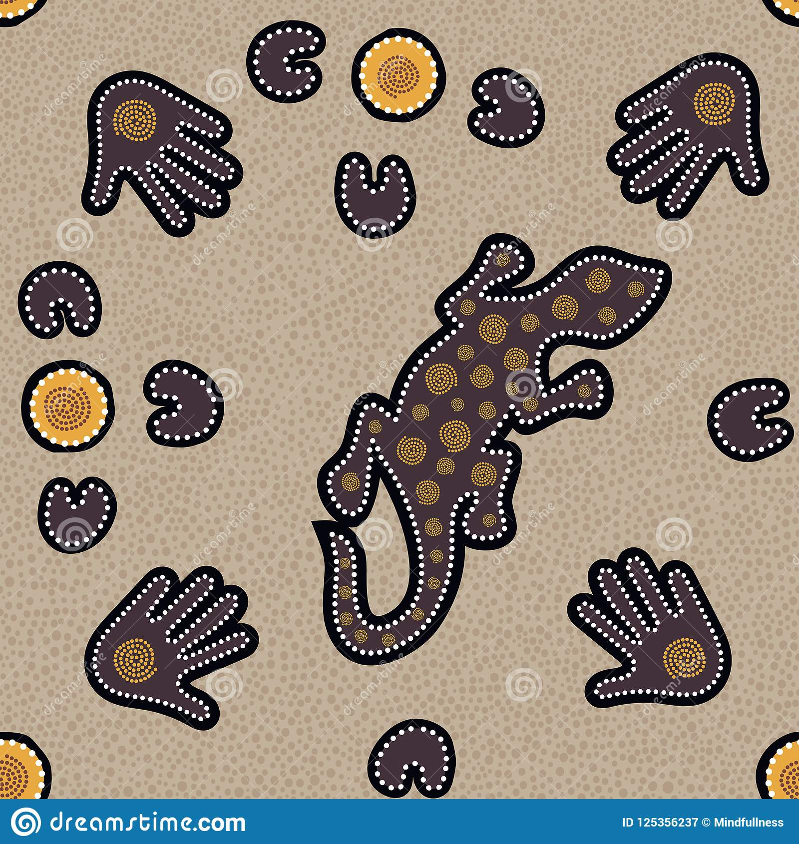 与被加点的圈子、蜥蜴、棕榈、飞旋镖和螺旋的澳大利亚原史无缝的样式