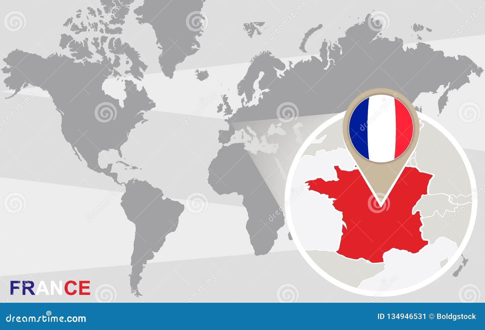 与被扩大化的法国的世界地图