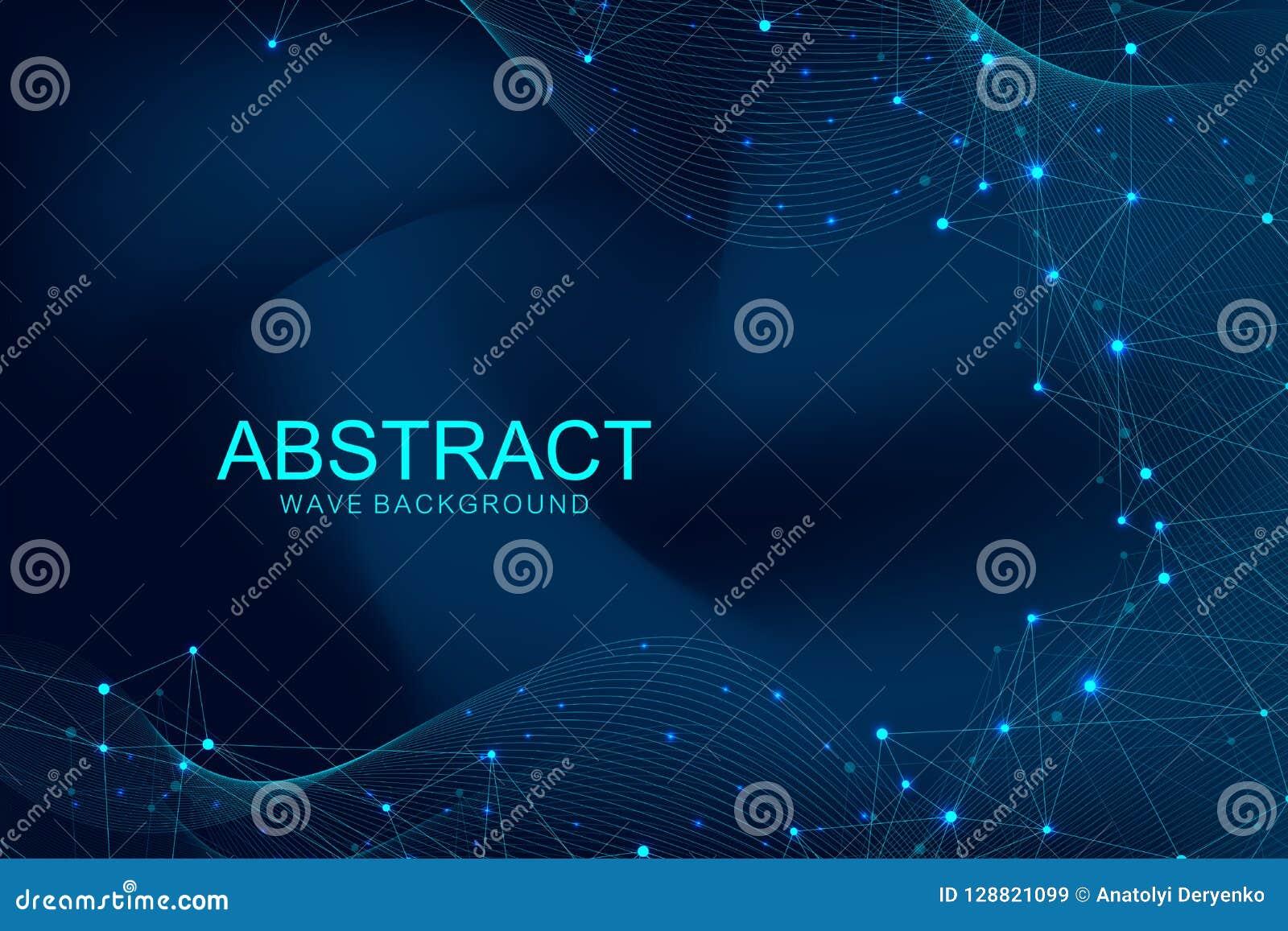 与被连接的线和小点的抽象多角形背景 波浪流程 分子结构和通信 图象