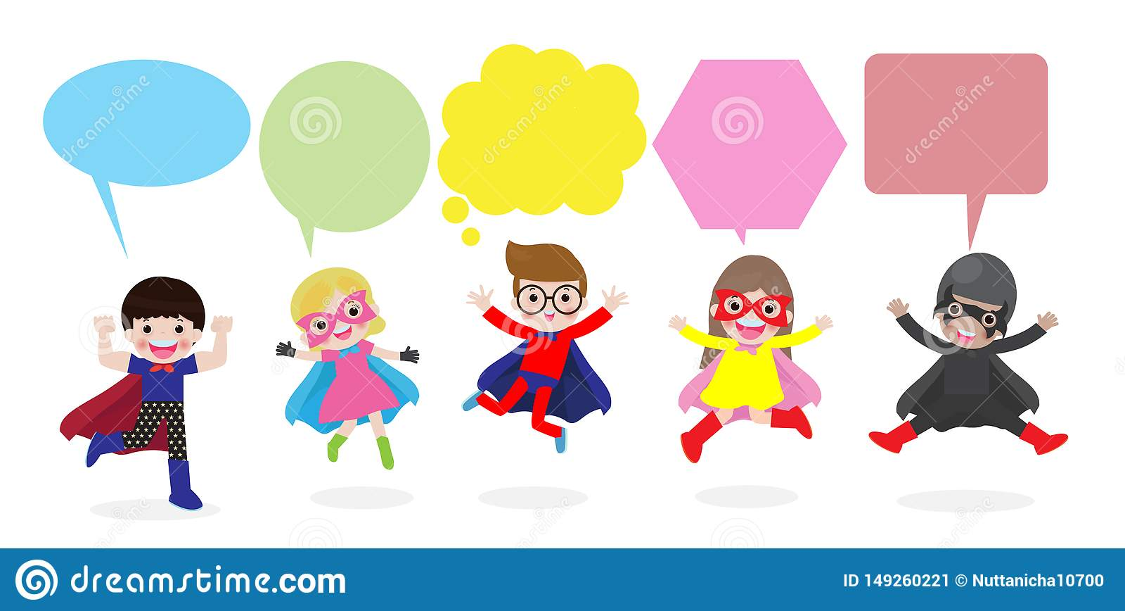 与讲话泡影的逗人喜爱的超级英雄孩子,设置了有在白色背景隔绝的讲话泡影的超级英雄孩子