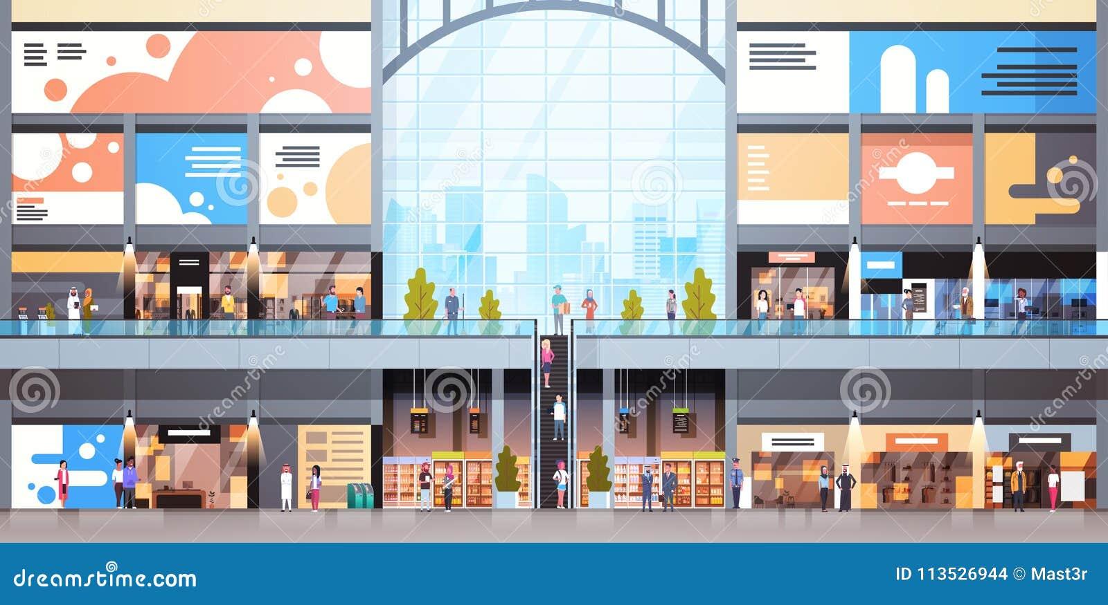 与许多人民大零售店的现代商城内部