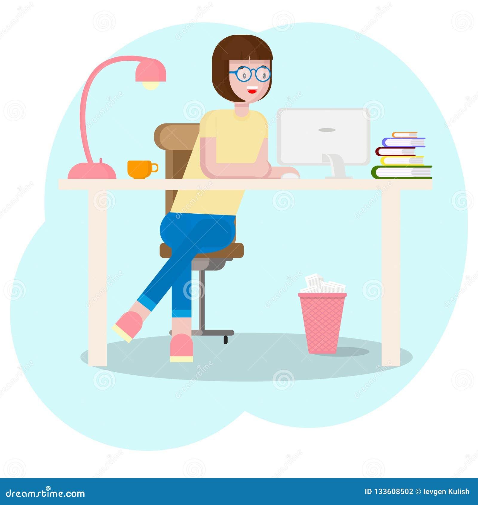 与设备的工作区概念 工作场所的女生有图形输入板的 年轻图表设计师妇女使用