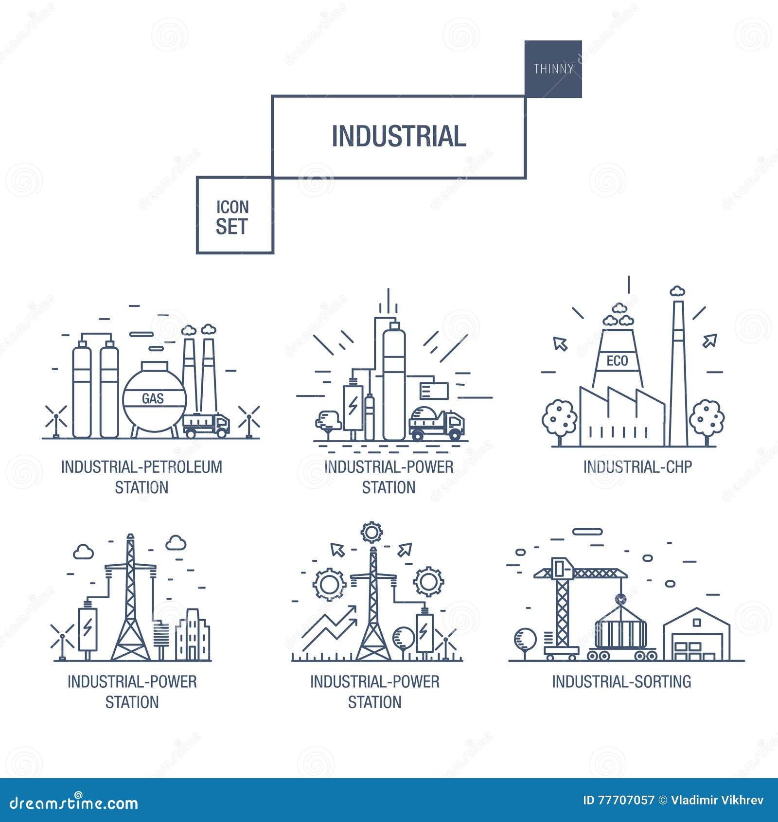 与设计元素气体,橄榄的大工业象集合,干净,