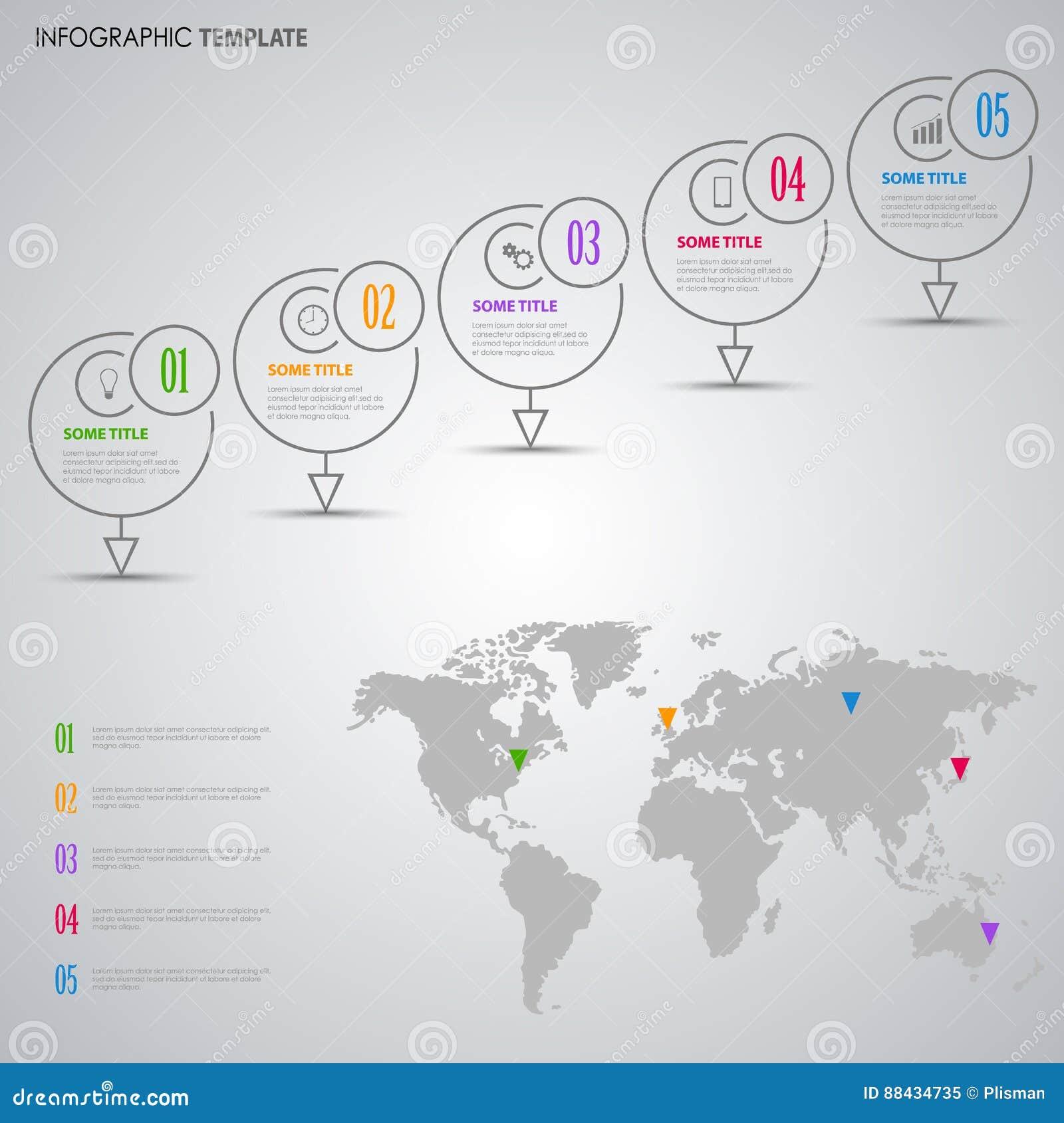 与设计显示和世界地图模板的信息图表