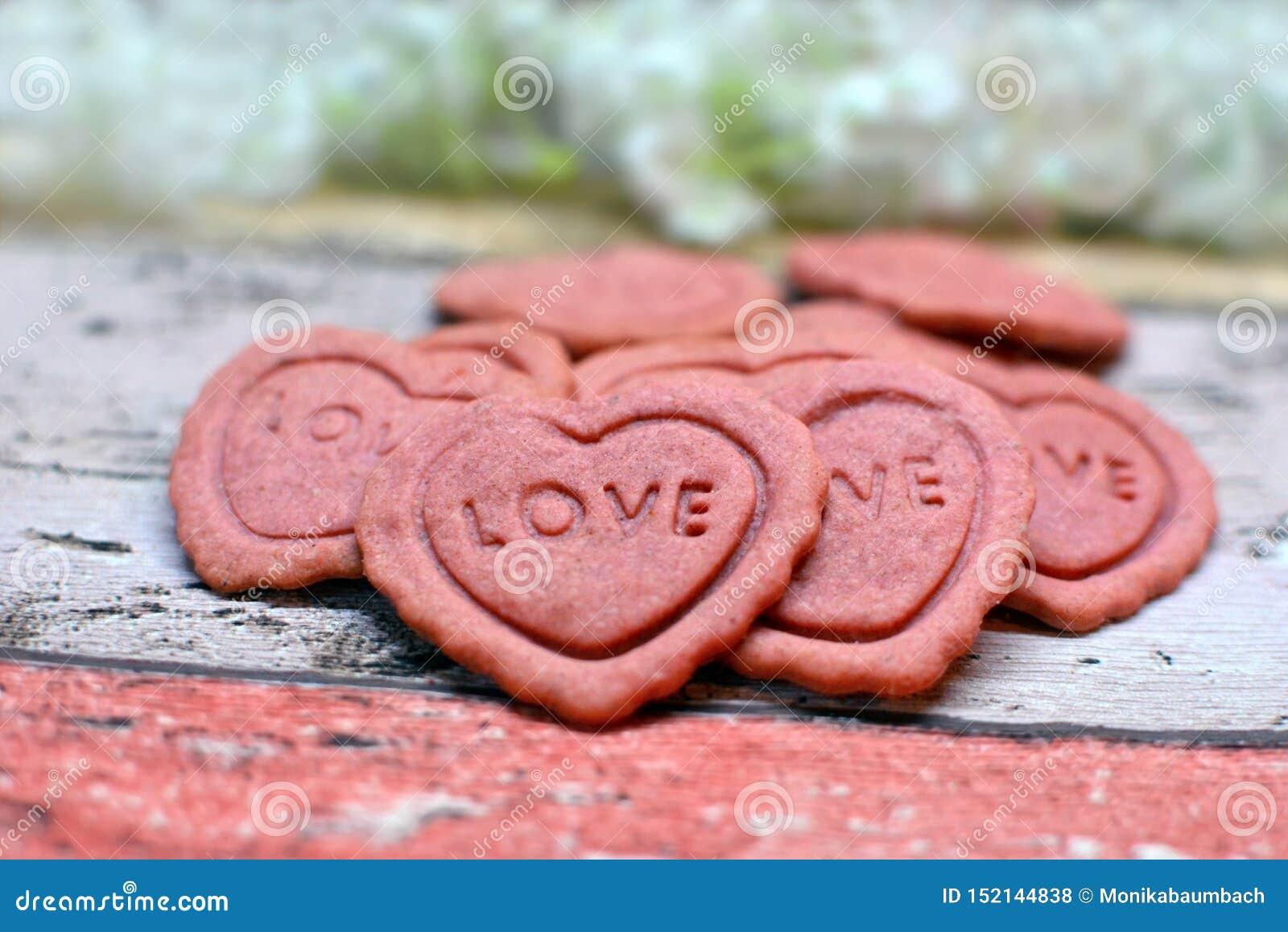 与词的桃红色心形的家庭焙制的情人节曲奇饼在他们爱