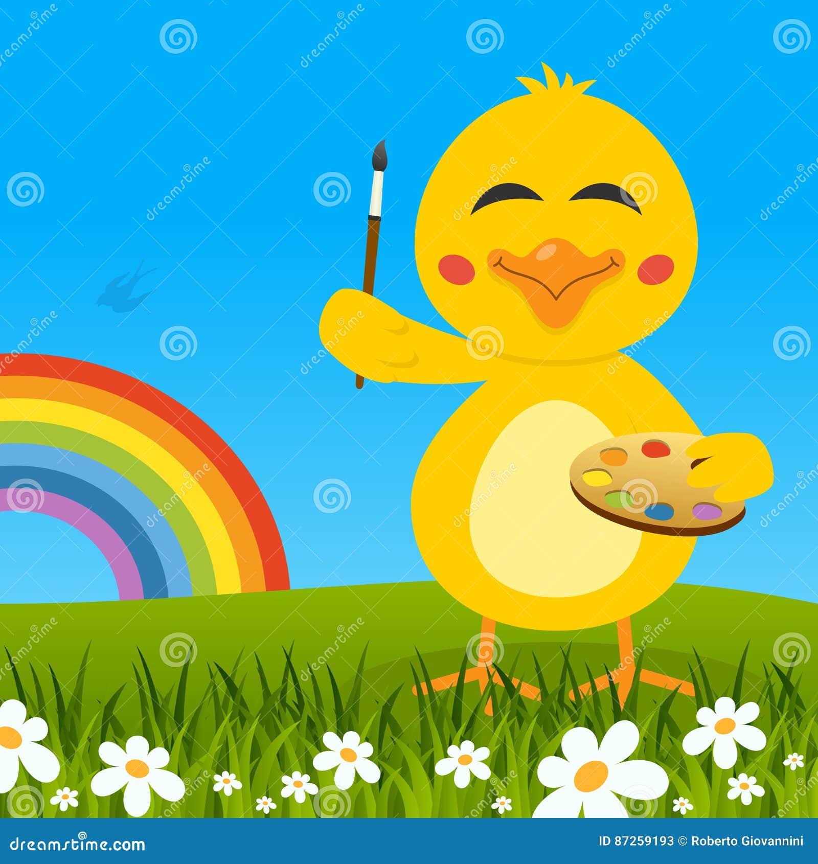 与调色板&彩虹的复活节逗人喜爱的小鸡