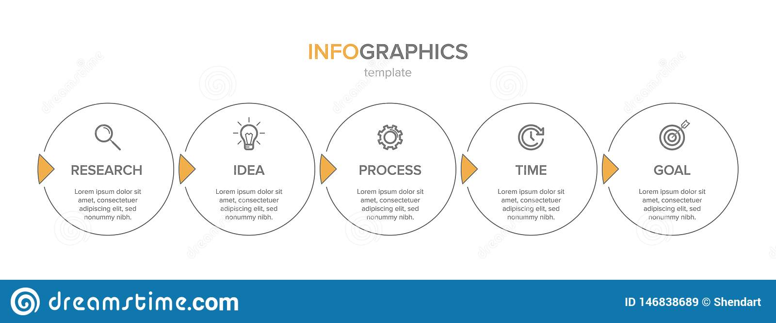 与象的Infographic设计和5选择或者步 E Infographics企业概念 r