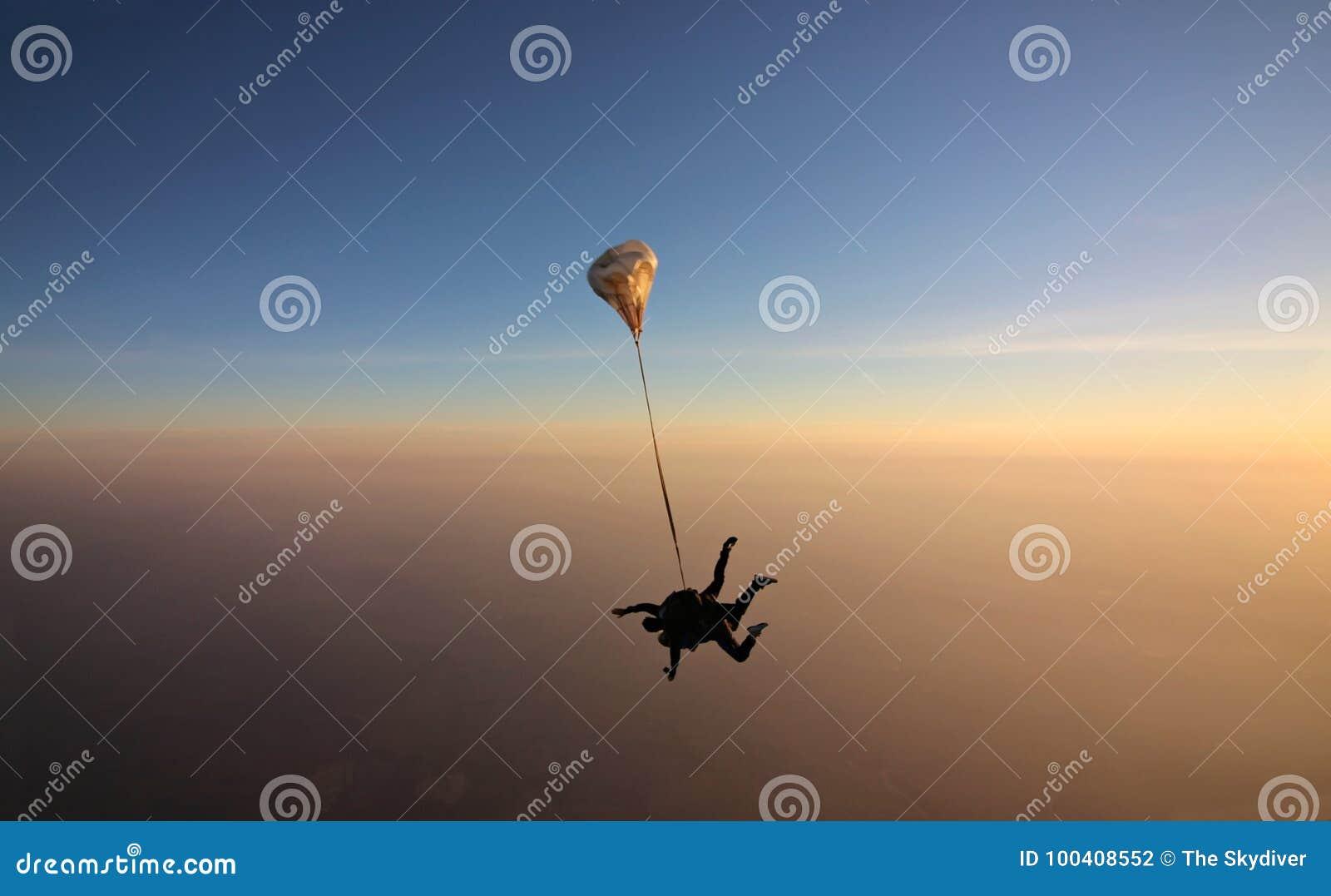 与软的焦点的Skydiving纵排日落在背景