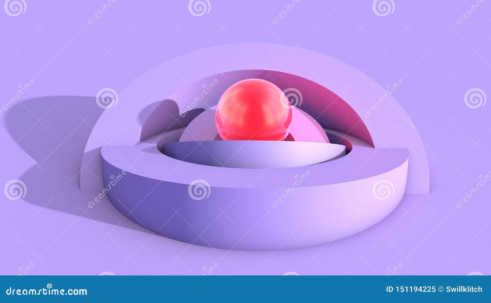 与软的ulraviolet弧形状的抽象建筑学背景和与光的发光的红色核心球形
