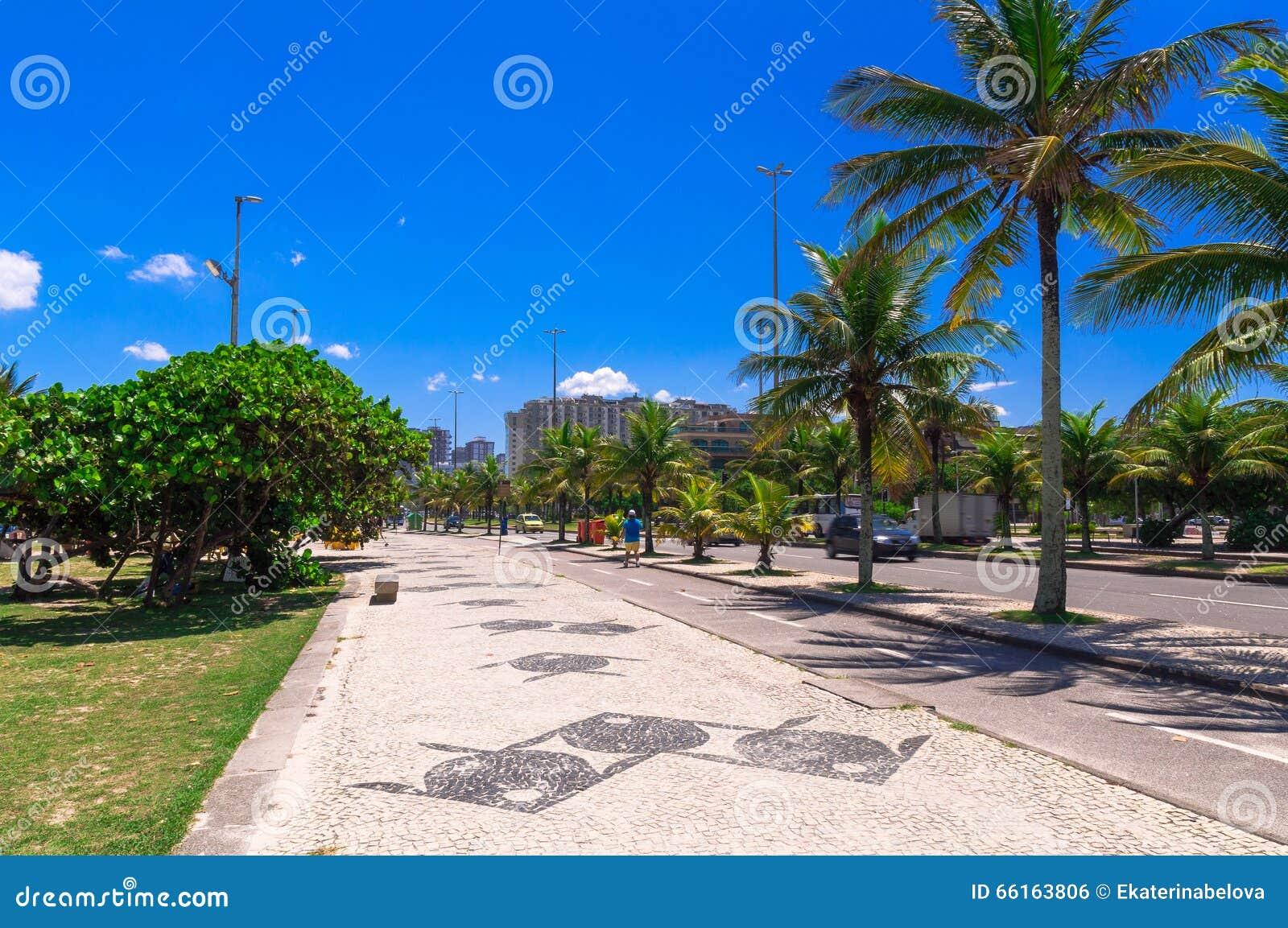 与边路马赛克的巴拉岛da Tijuca海滩在里约热内卢