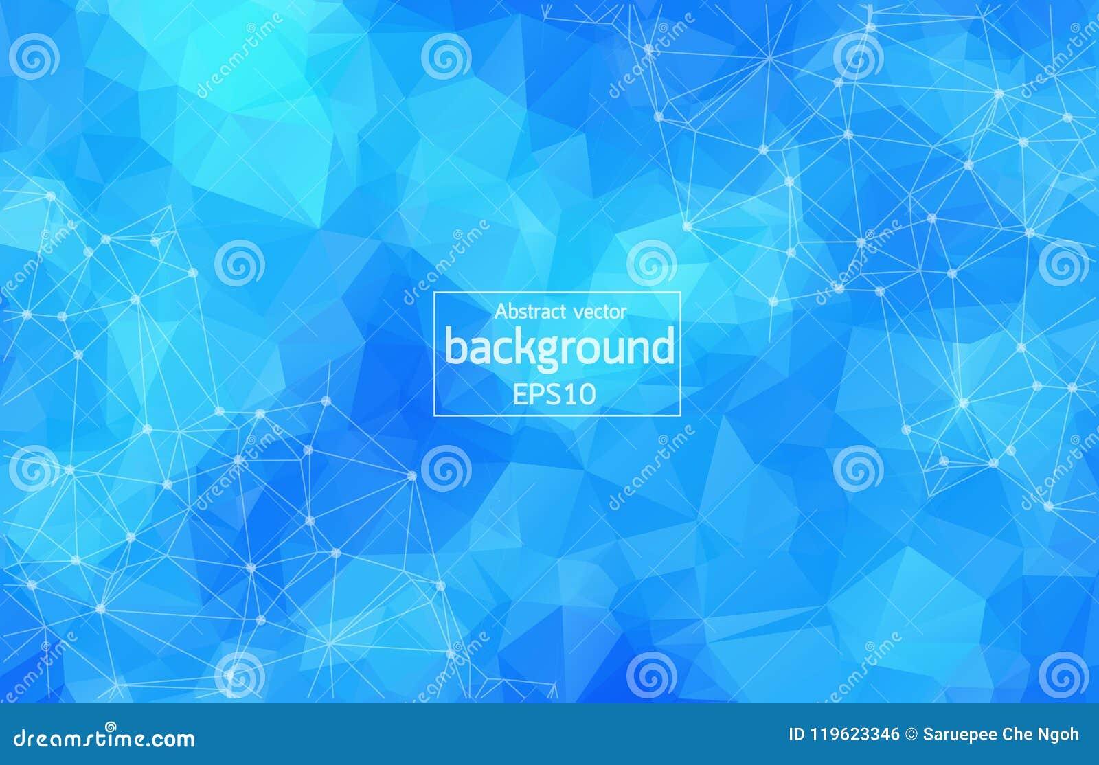 与连接的小点和线的抽象蓝色多角形空间背景 连接结构 传染媒介科学背景 多角形