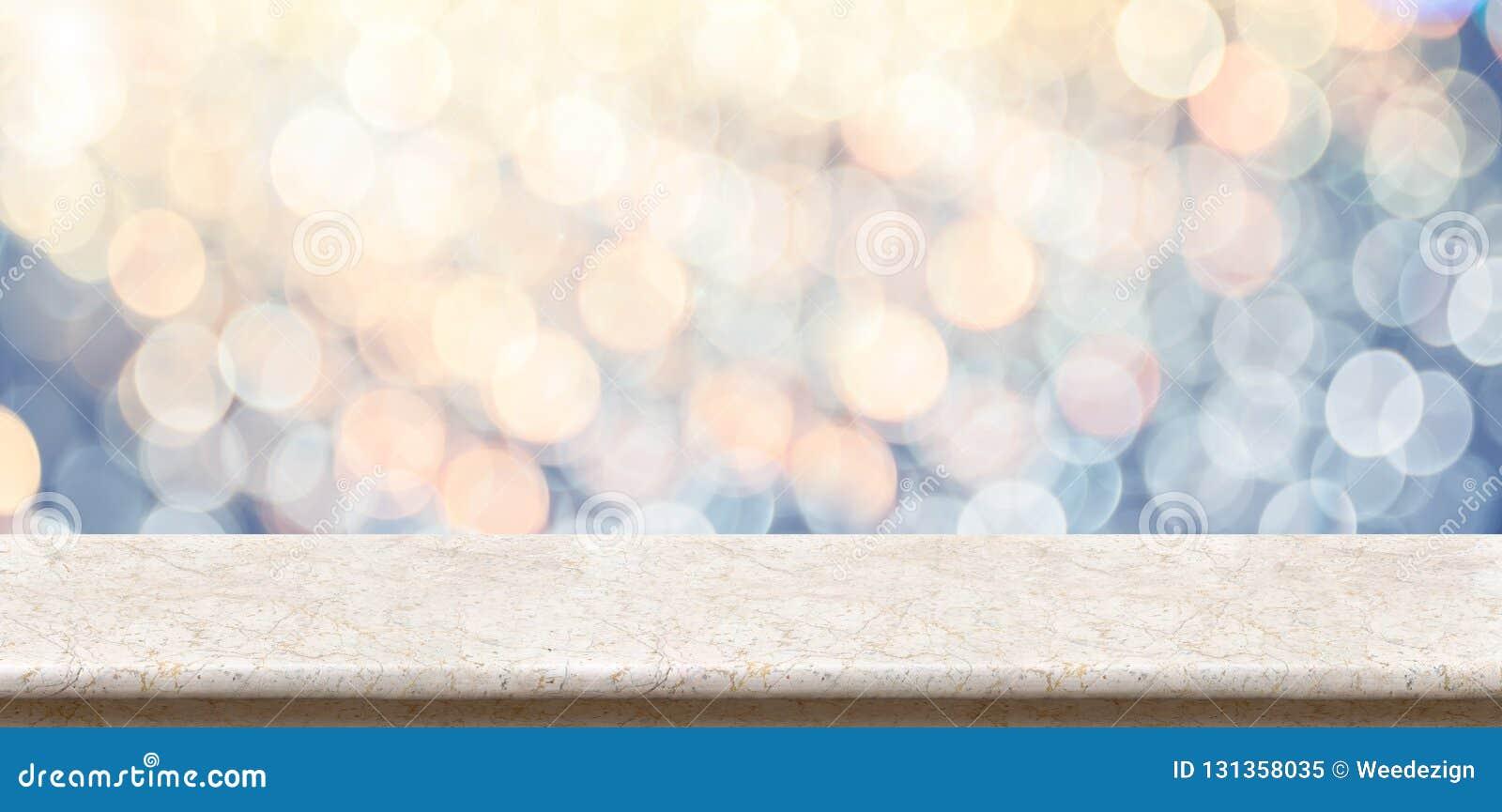 与迷离闪耀的软的淡色bl的空的大理石光滑的台式