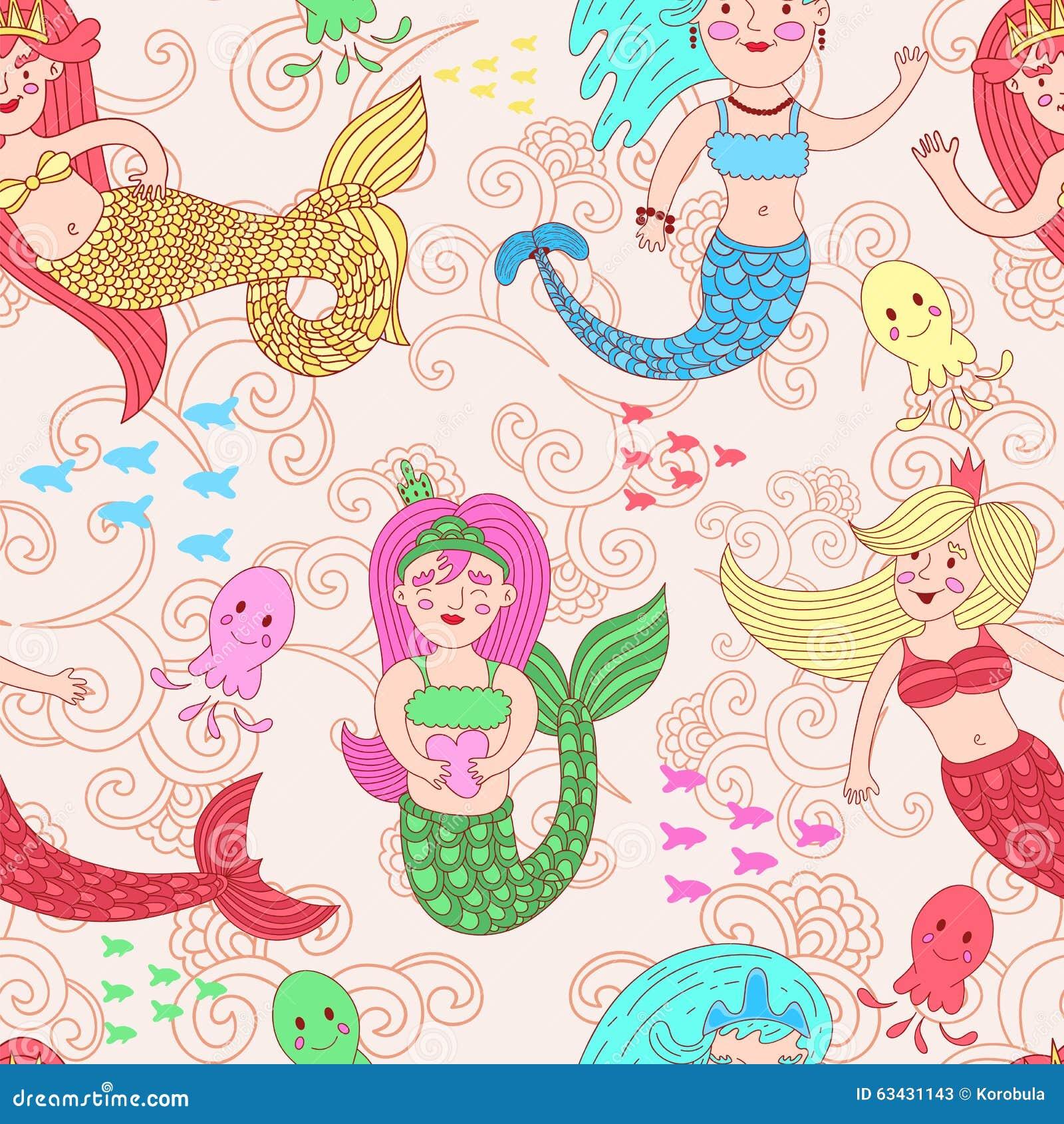 与逗人喜爱的五颜六色的美人鱼的传染媒介无缝的样式