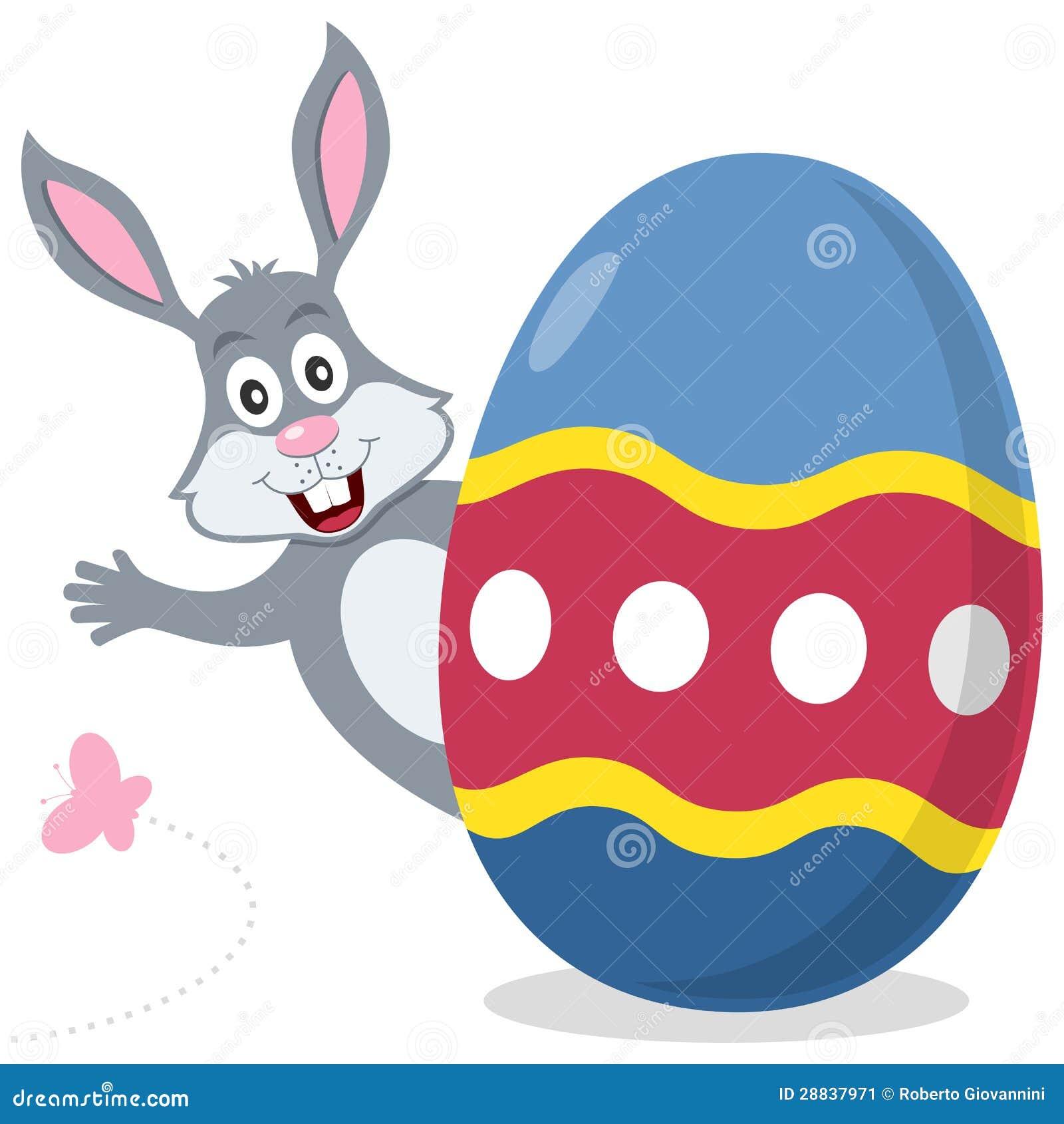 与逗人喜爱的兔宝宝的复活节彩蛋