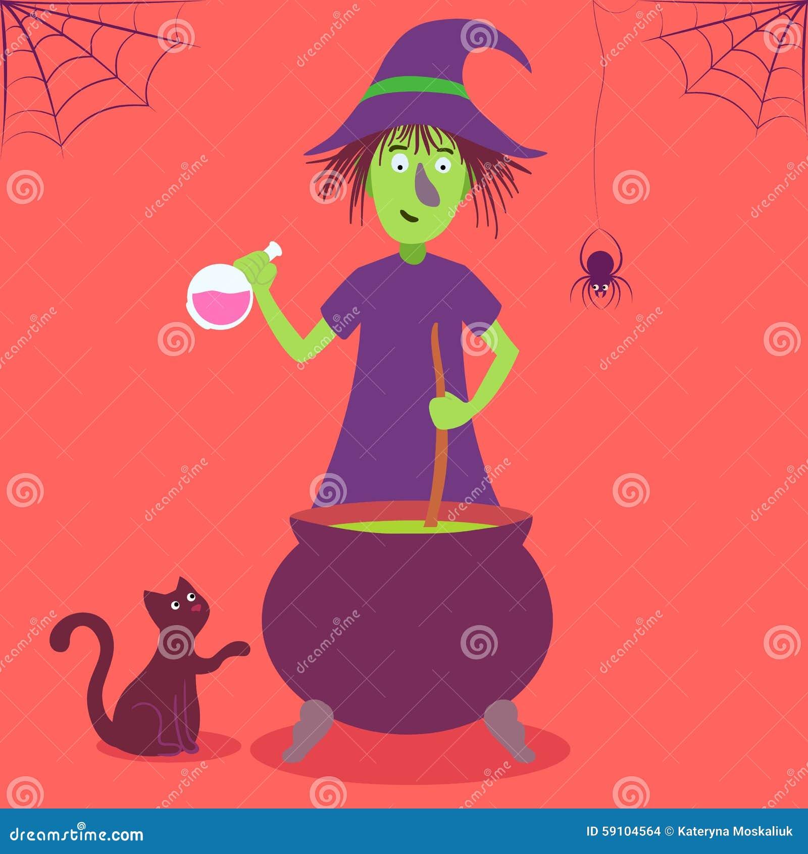 与逗人喜爱的动画片巫婆的传染媒介卡片