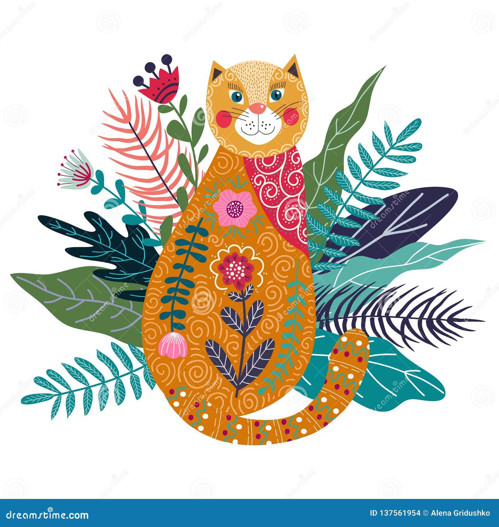 与逗人喜爱的姜猫、花和草的艺术传染媒介五颜六色的被隔绝的例证