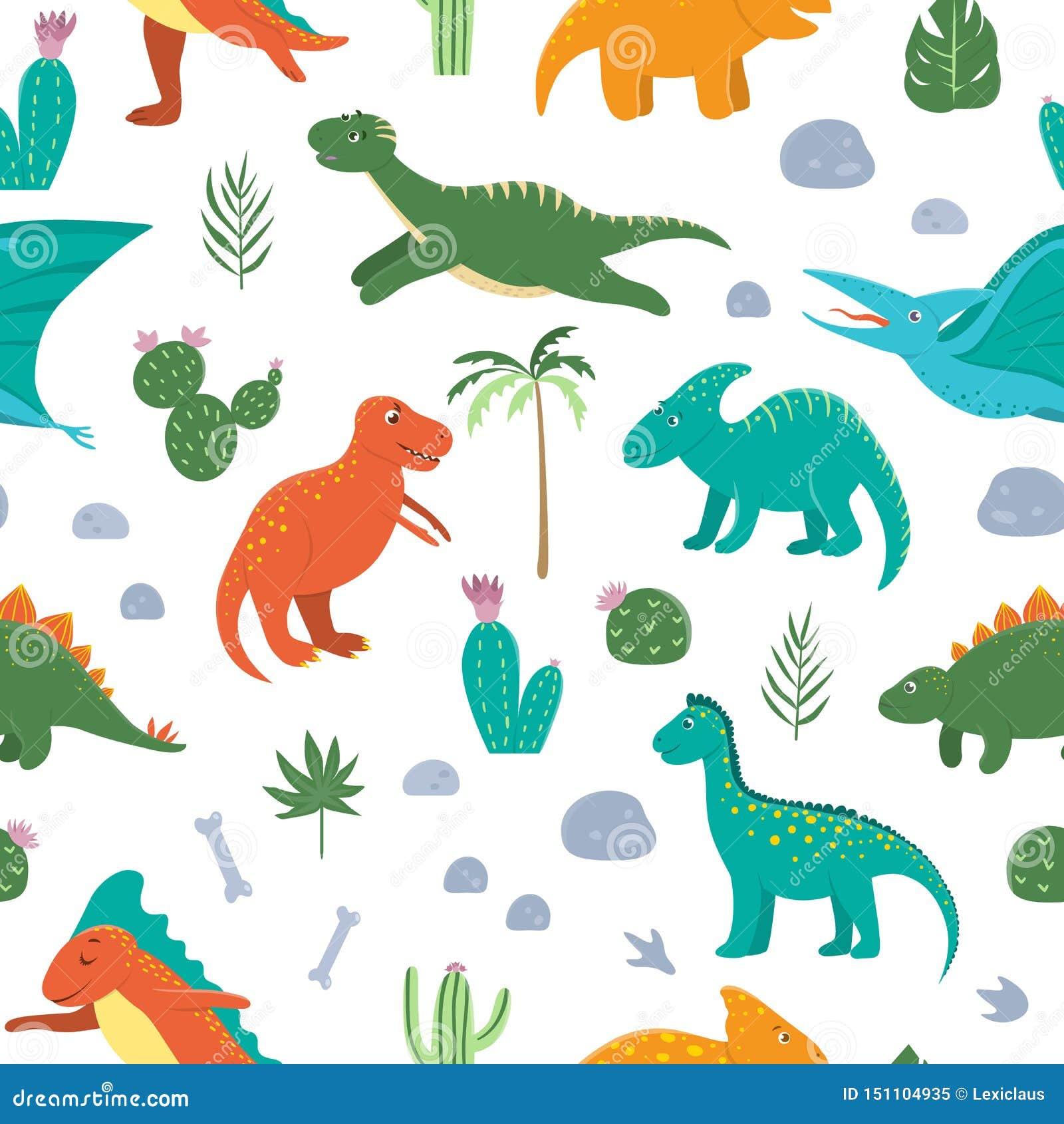 与逗人喜爱的恐龙的传染媒介无缝的样式与棕榈树,仙人掌,石头,脚印,孩子的骨头 迪诺平的动画片