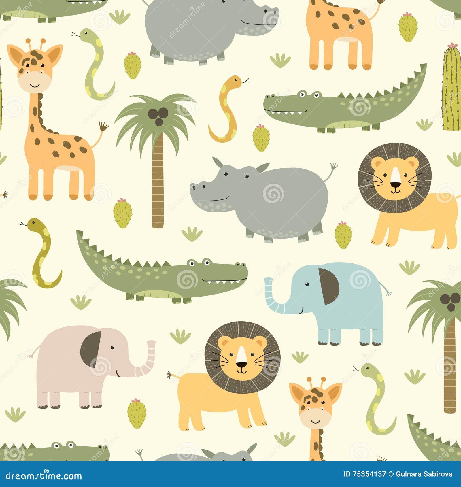 与逗人喜爱的河马,鳄鱼,狮子的徒步旅行队动物无缝的样式