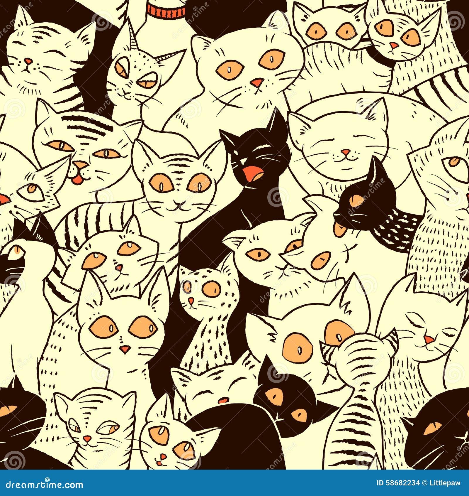 与逗人喜爱的猫的无缝的传染媒介样式