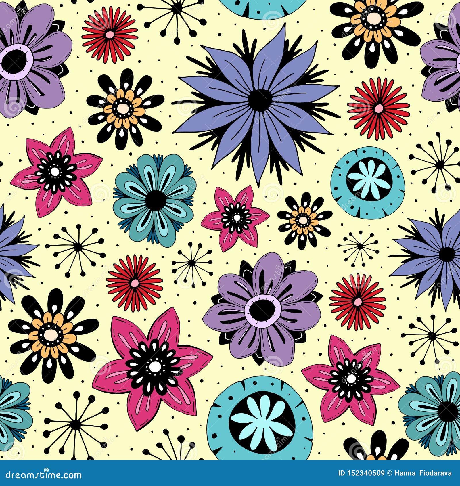 与逗人喜爱的花的无缝的样式