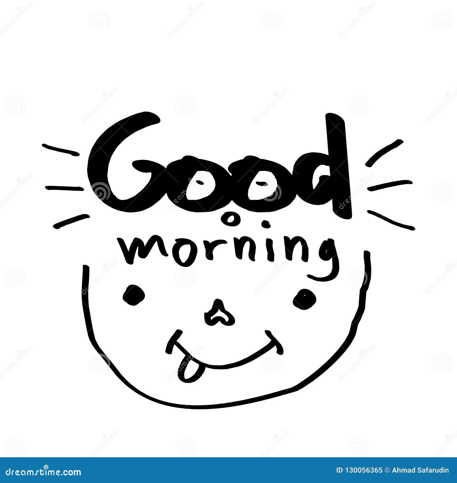 与逗人喜爱的面孔的早晨好手拉的印刷术孩子、婴孩、孩子、衣物、纺织品和时尚印刷品的