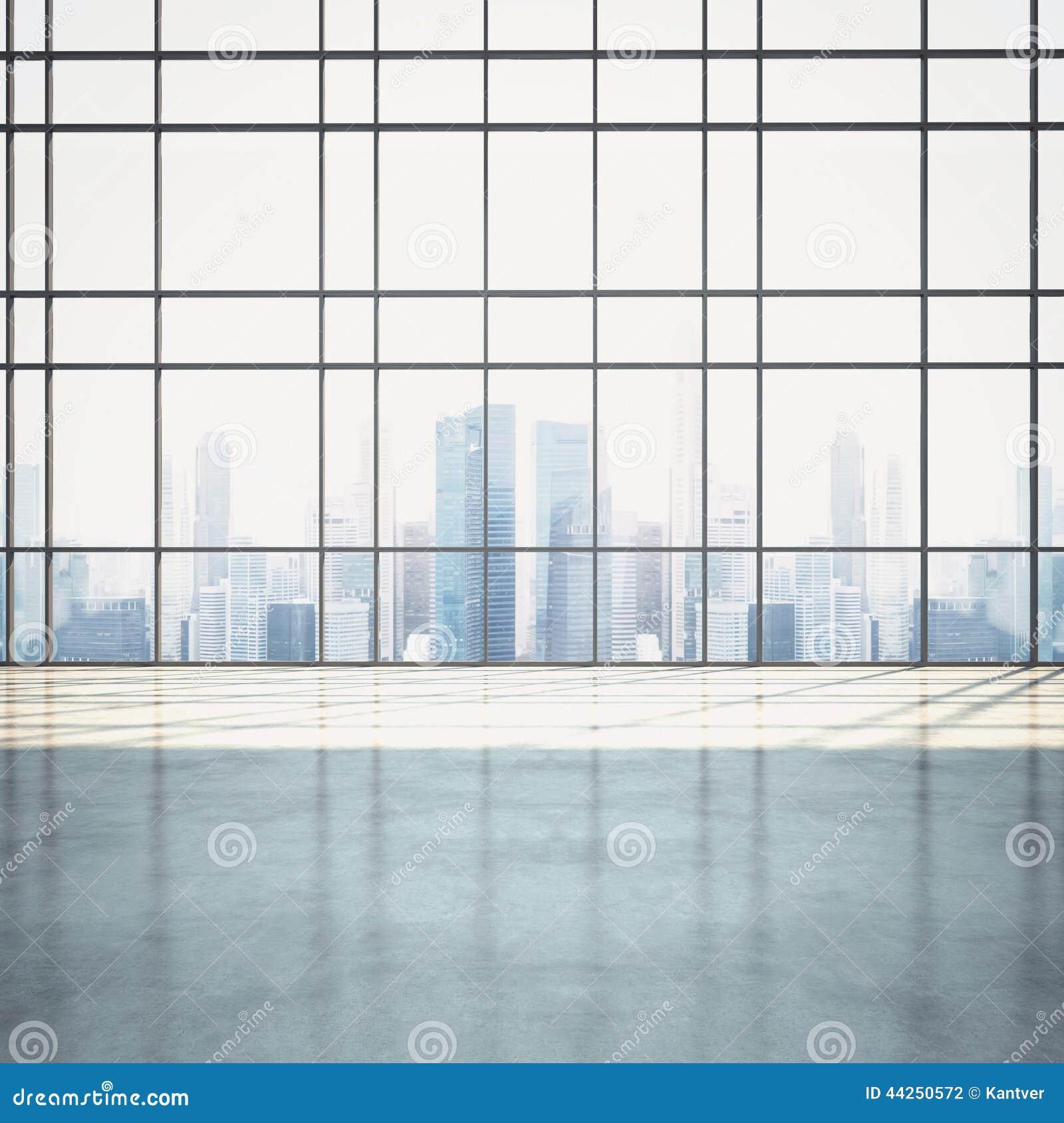 与都市风景的空的晴朗的开放学制内部