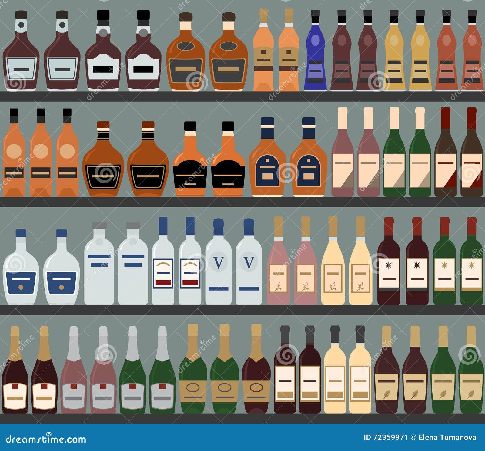 与酒精的超级市场架子