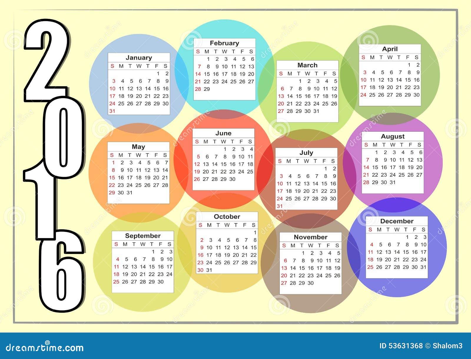 2016与重叠五颜六色的泡影,每个月在一个分开的圈子的彩虹的水平的日历
