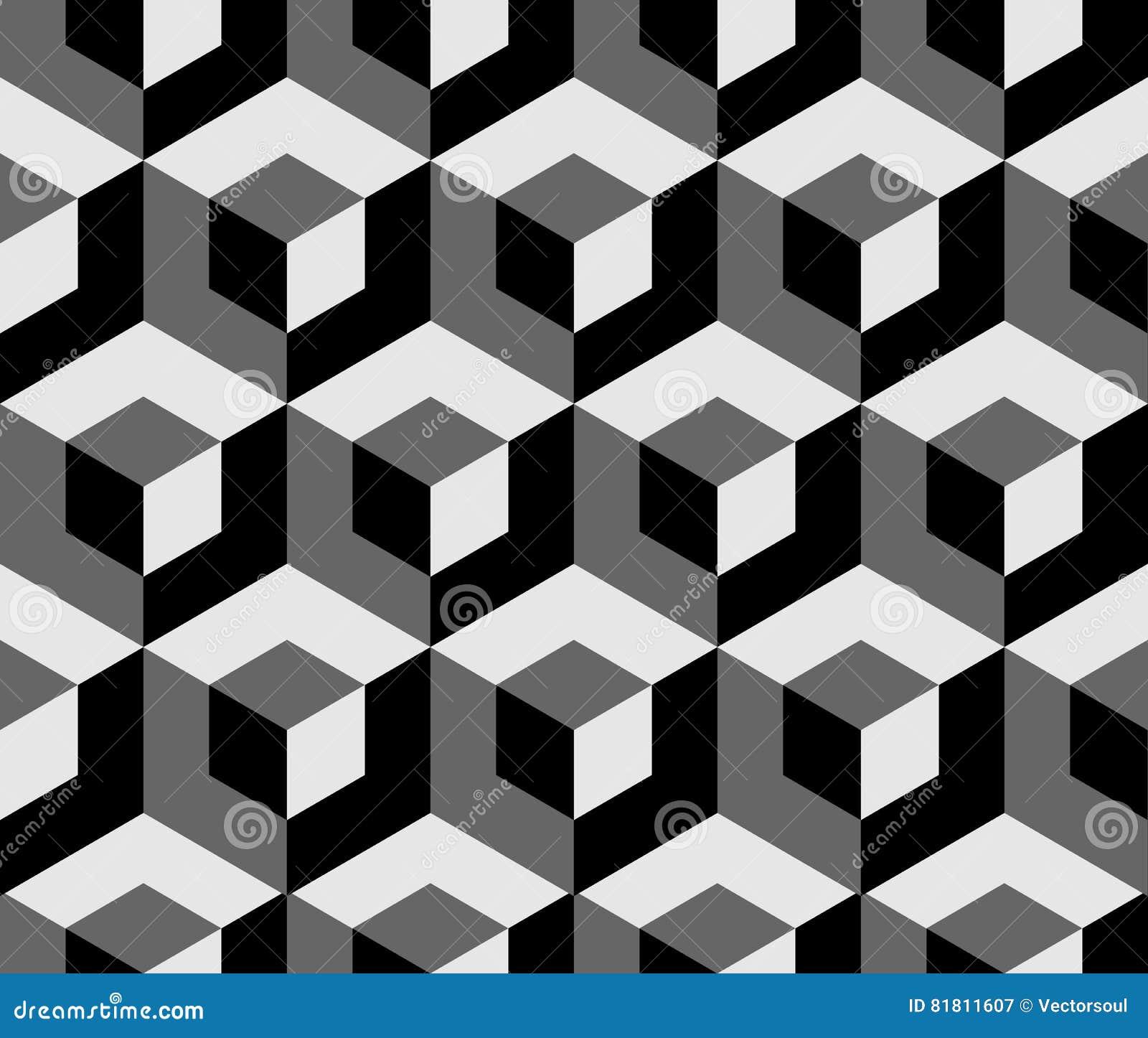 与重叠的正方形的抽象单色样式 无缝3