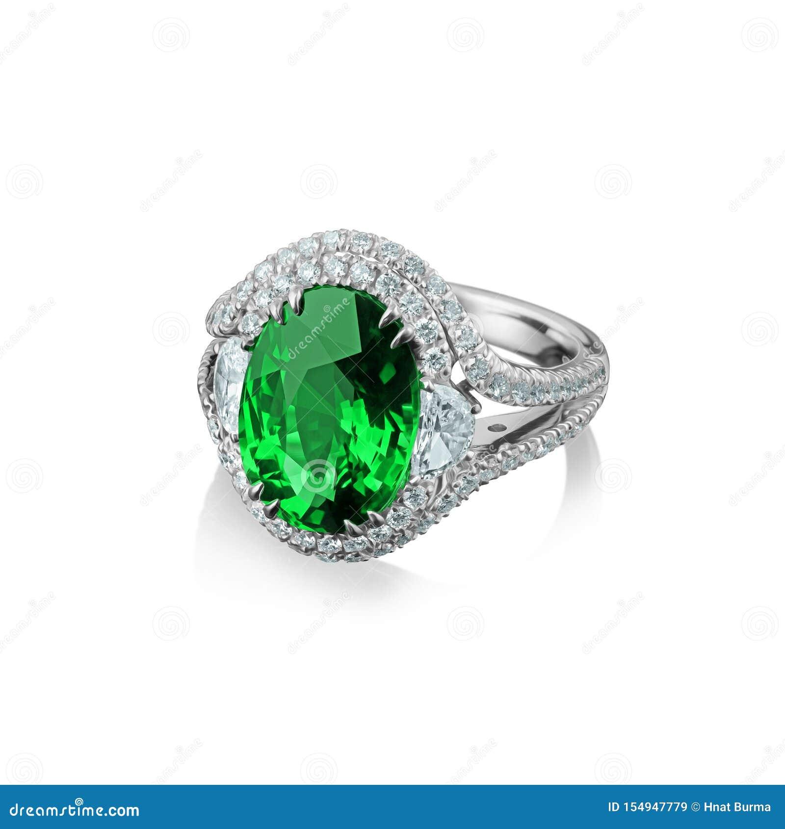 与金刚石和巨大的绿色绿宝石的被隔绝的人造白金圆环