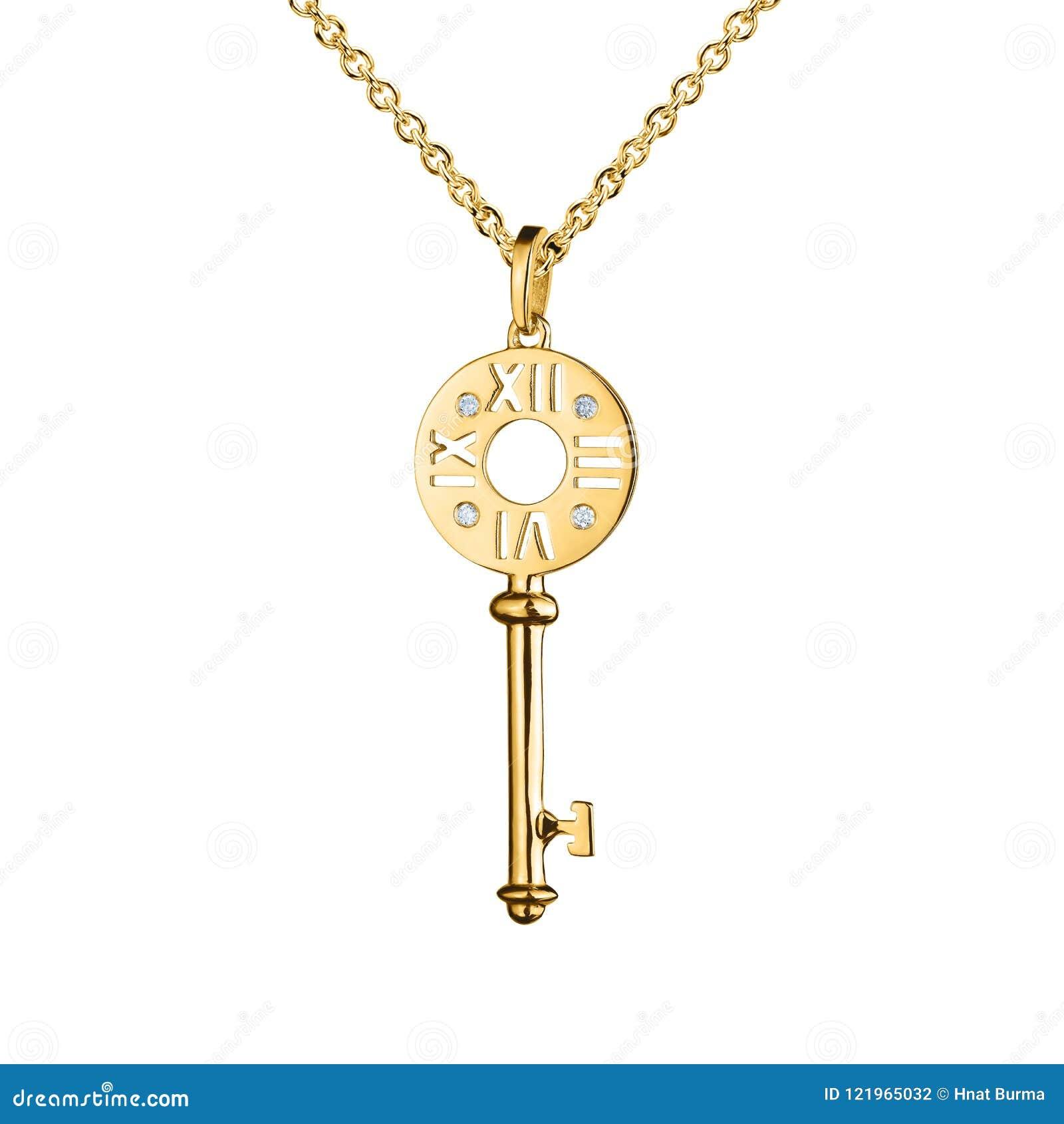 与金刚石的首饰金黄垂饰,与手表标记的钥匙,金黄链子,金银铜合金,隔绝在白色
