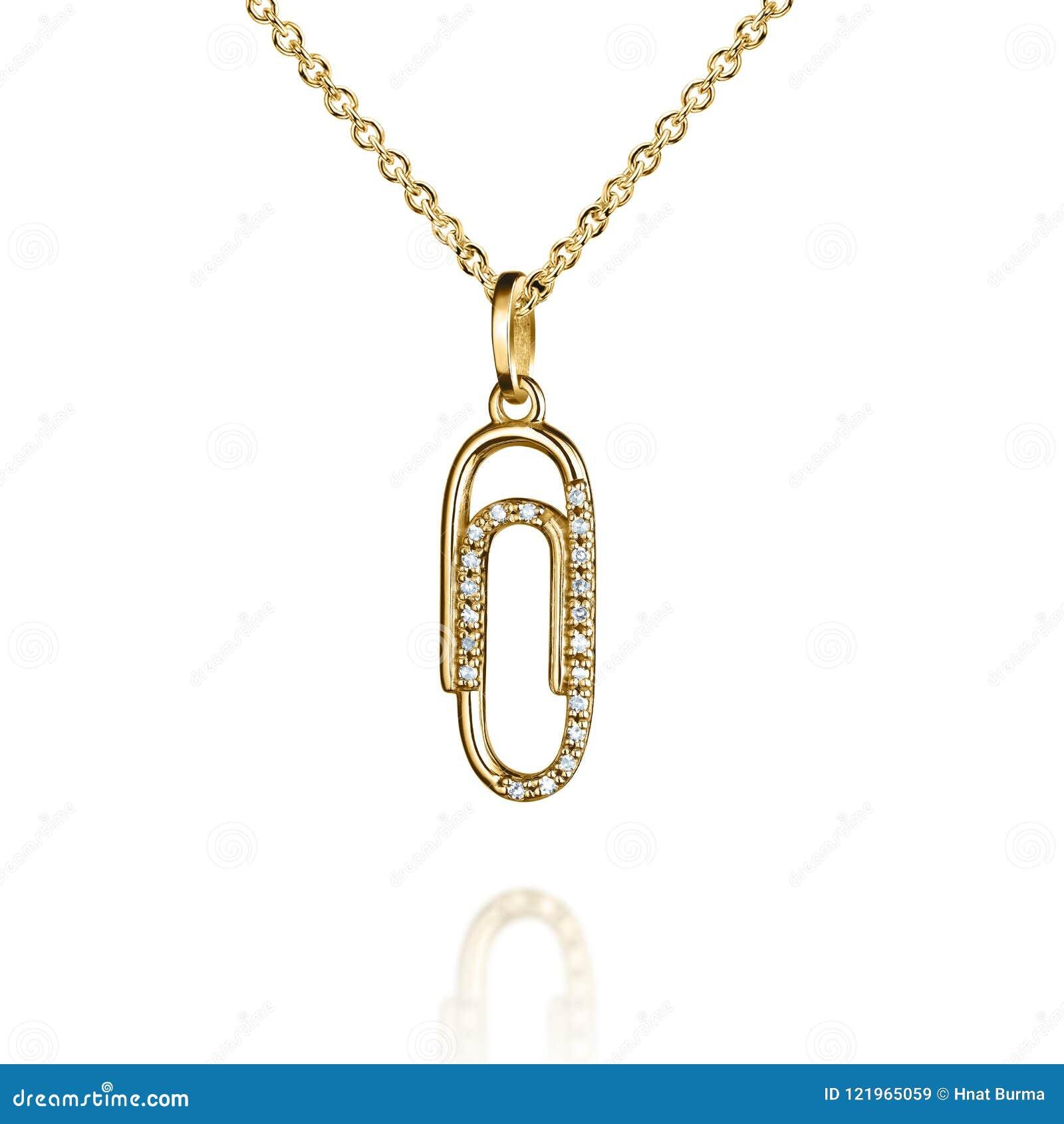 与金刚石的首饰金黄垂饰,夹子,纸紧固件,紧抱,金黄链子,金银铜合金,隔绝在白色