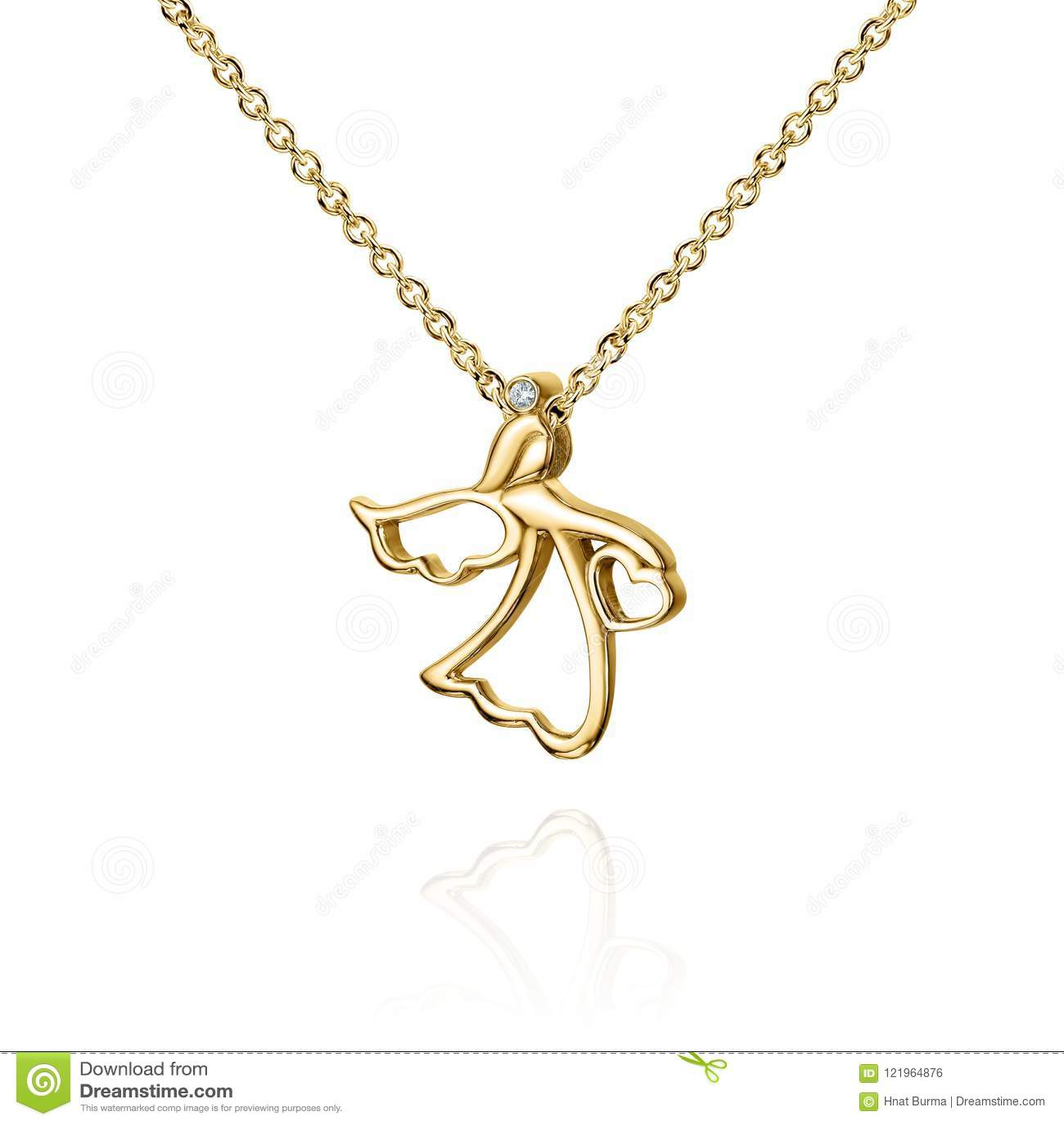 与金刚石,与翼的天使,金黄链子,金银铜合金的首饰金黄垂饰,隔绝在白色