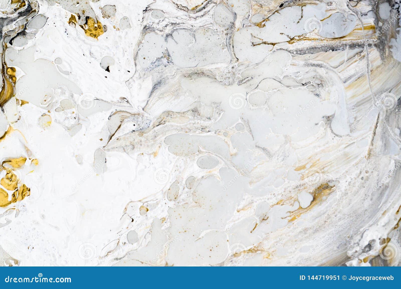 与金子、黑色、灰色和白色的大理石背景纹理,使用丙烯酸酯的倾吐的中等艺术技术 有用作为a