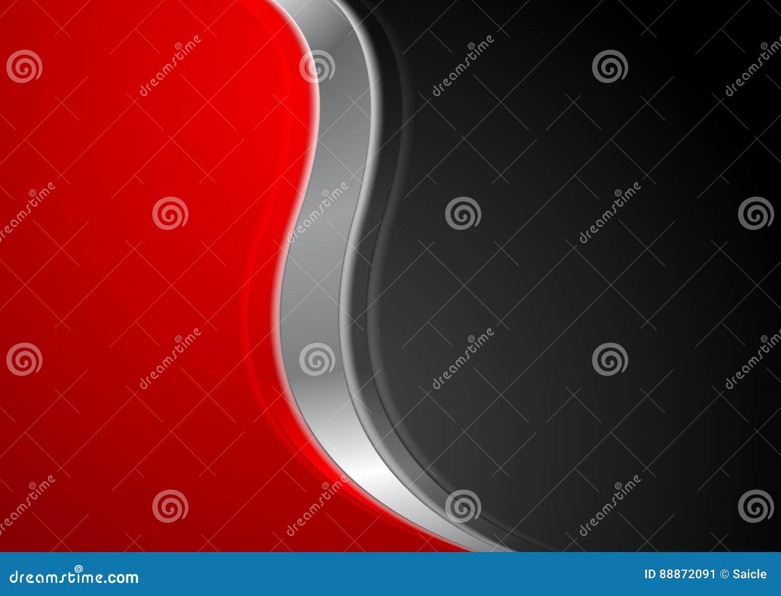 与金属波浪的抽象红色黑背景