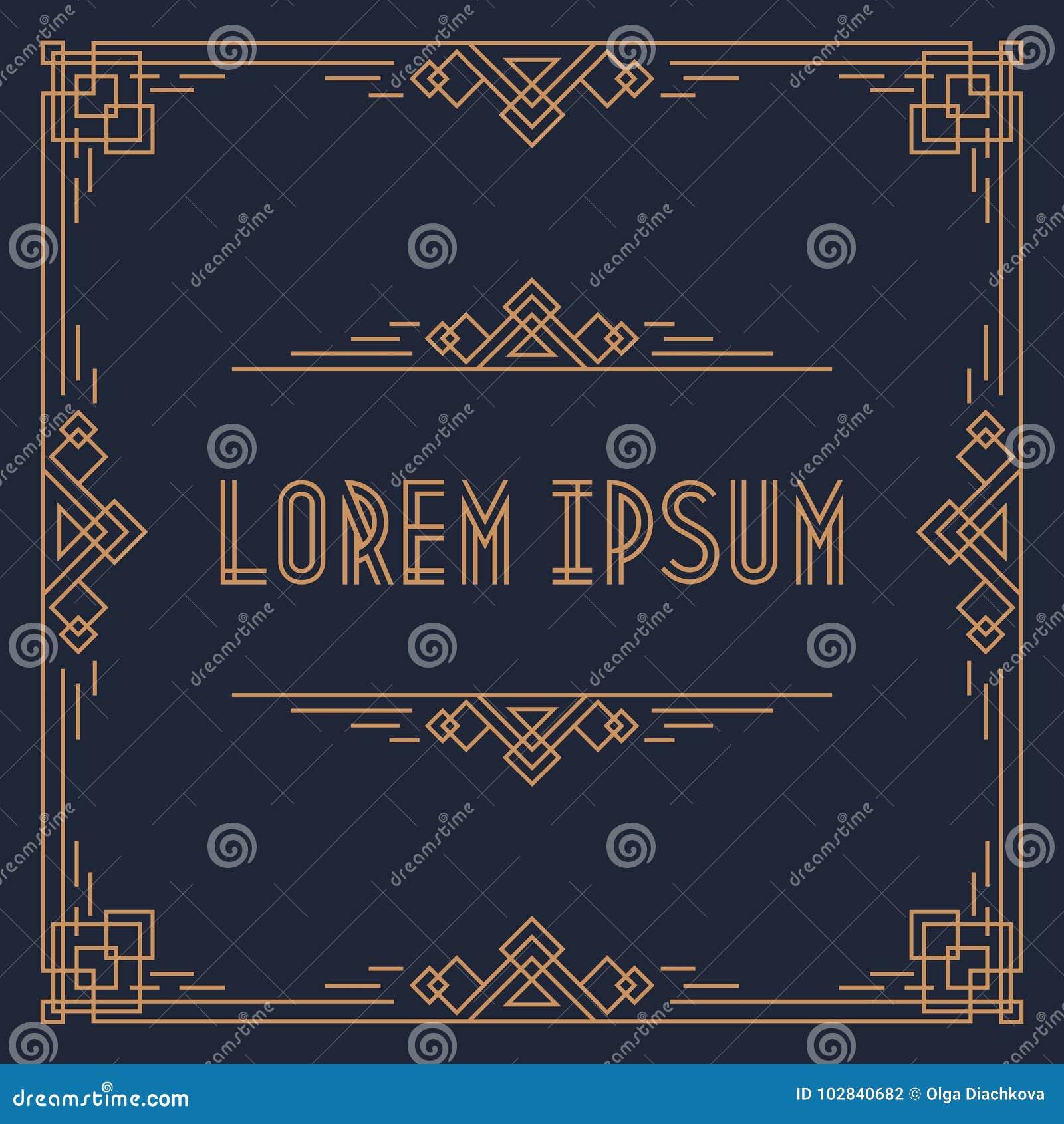 与金框架的贺卡模板盖子设计正方形形状几何艺术装饰样式