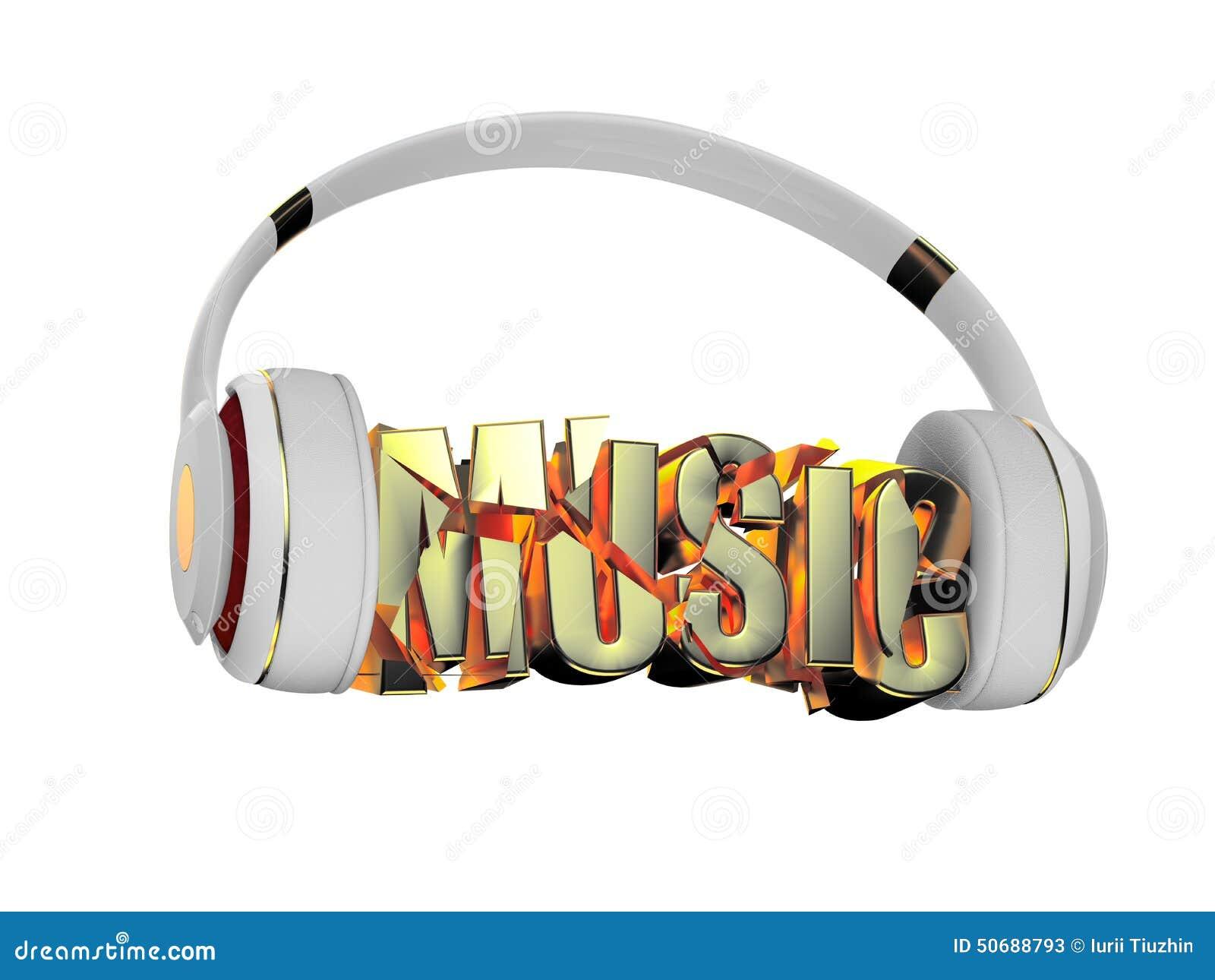 Download 与金耳机的时髦的白色和词音乐 对每种颜色和对象保留了它的面具 编辑在乐趣 库存例证 - 插画 包括有 声音, 设备: 50688793