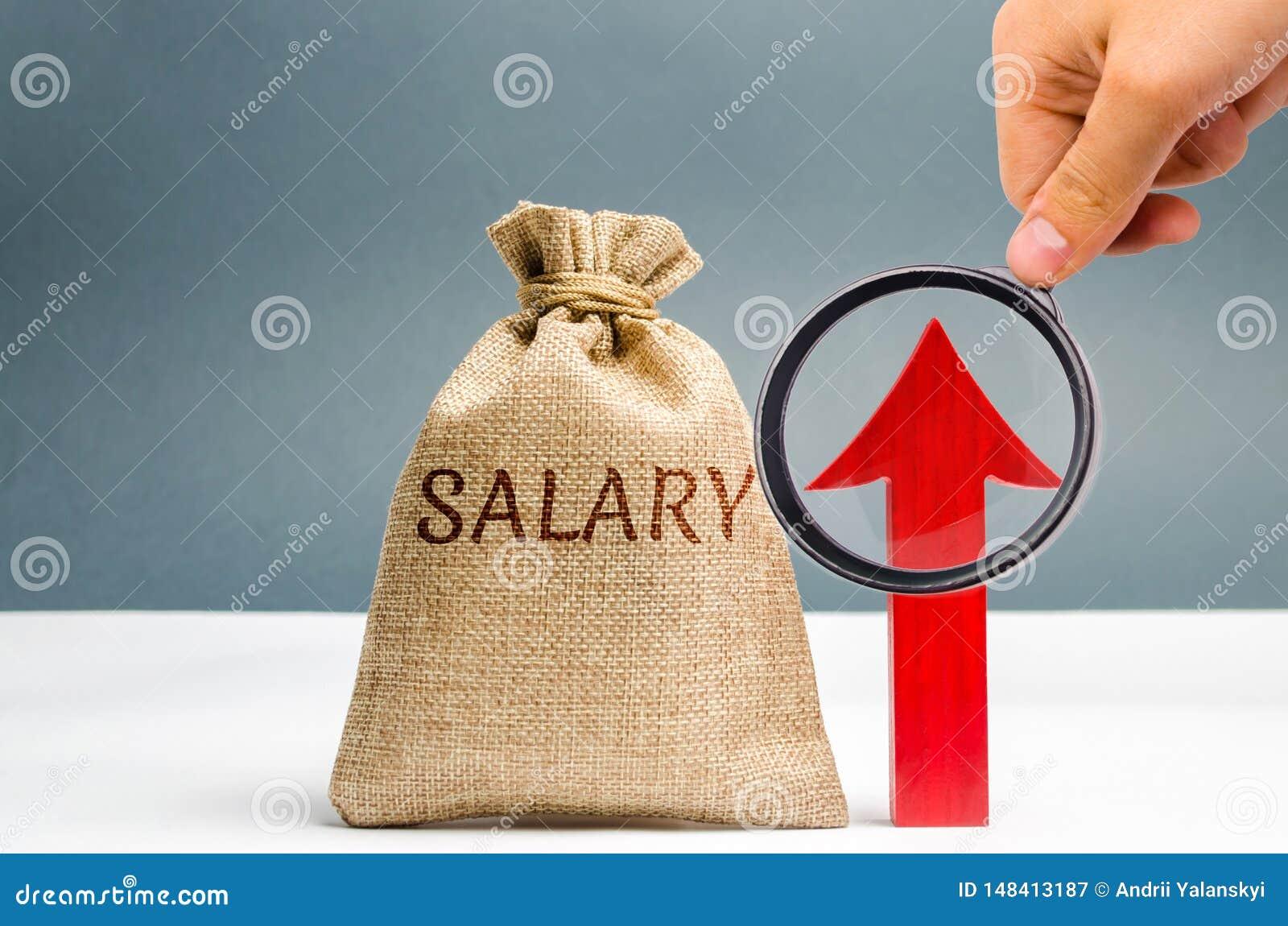 与金钱的一个袋子和题字薪金和箭头 薪金,工资率增量  促进,事业成长 ??
